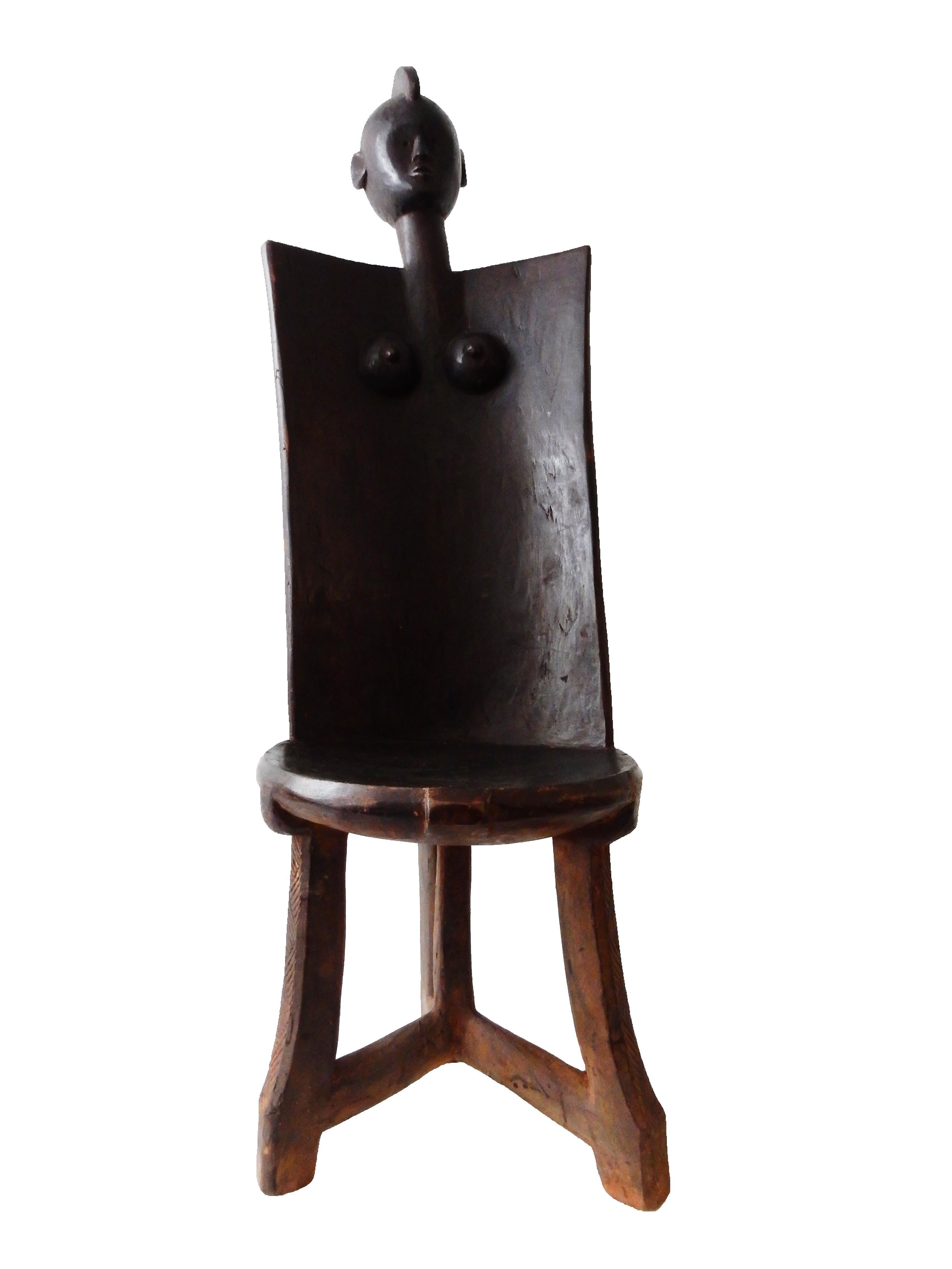 African 3 Legged Makonde Chair Chairish