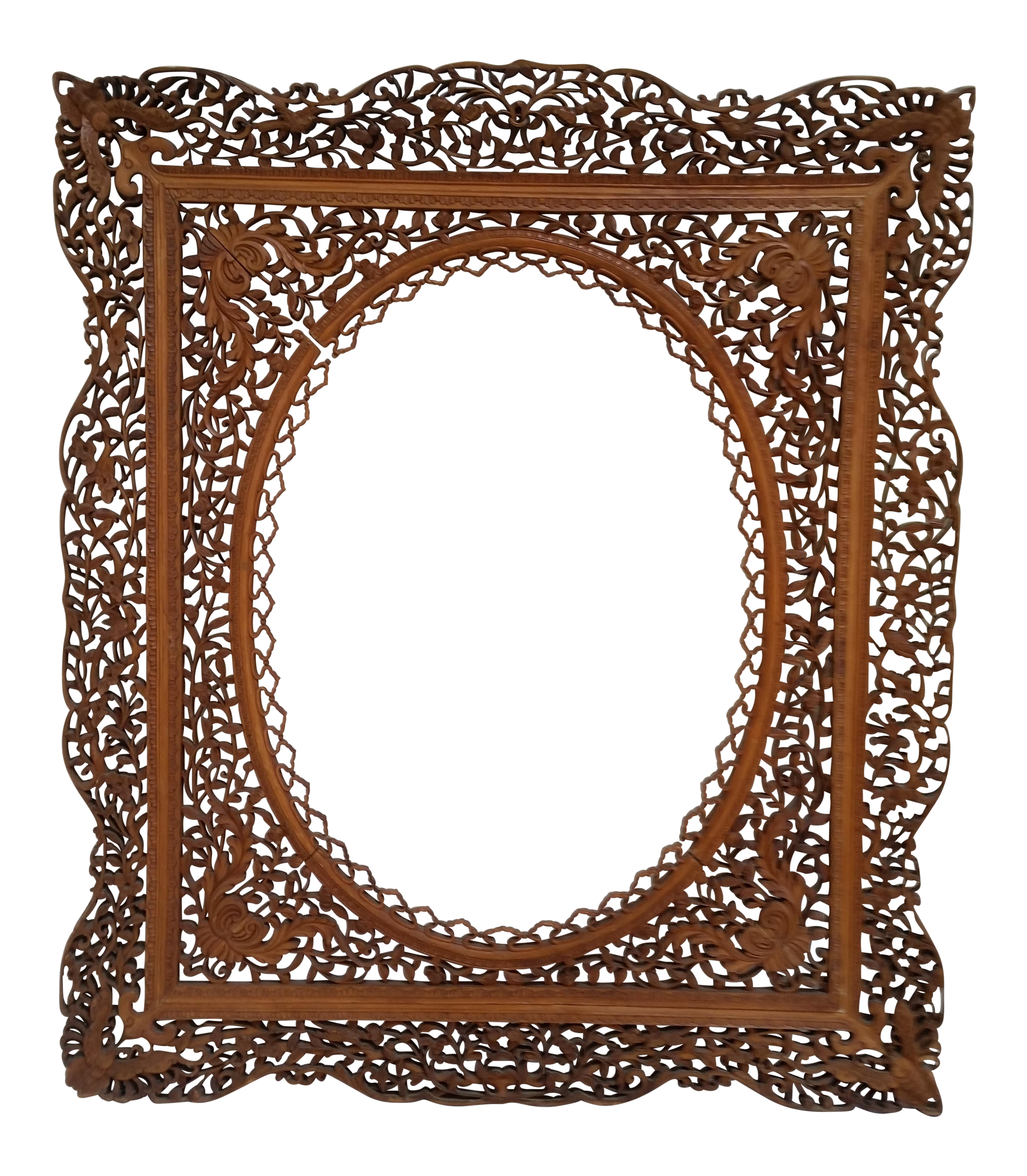 Antique Anglo Indian Carved Wood Frame Chairish
