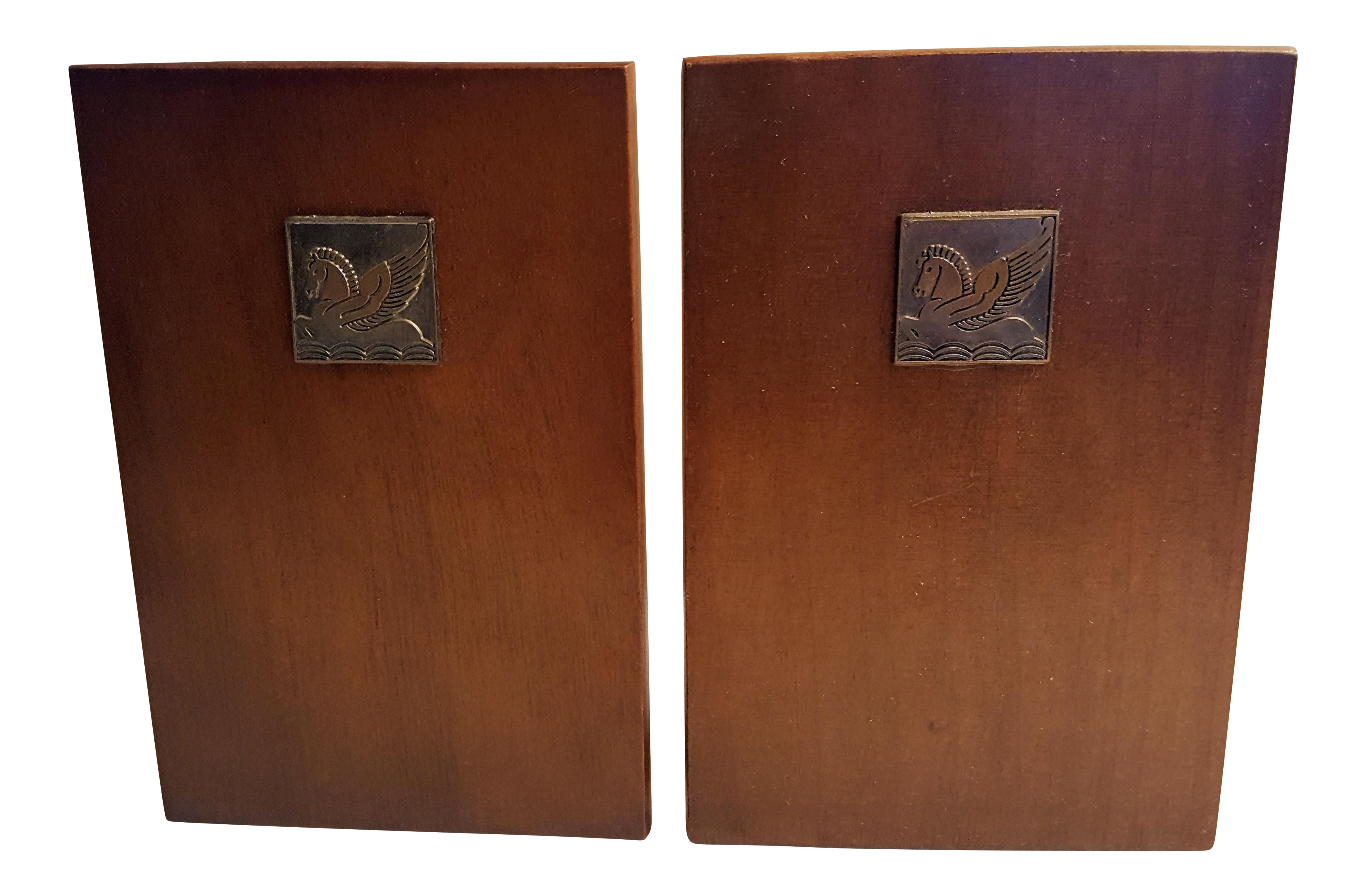 Rockwell Mid Century Modern Accent Chair: Pair Of Walnut Bookends With Art Deco Styled Pegasus