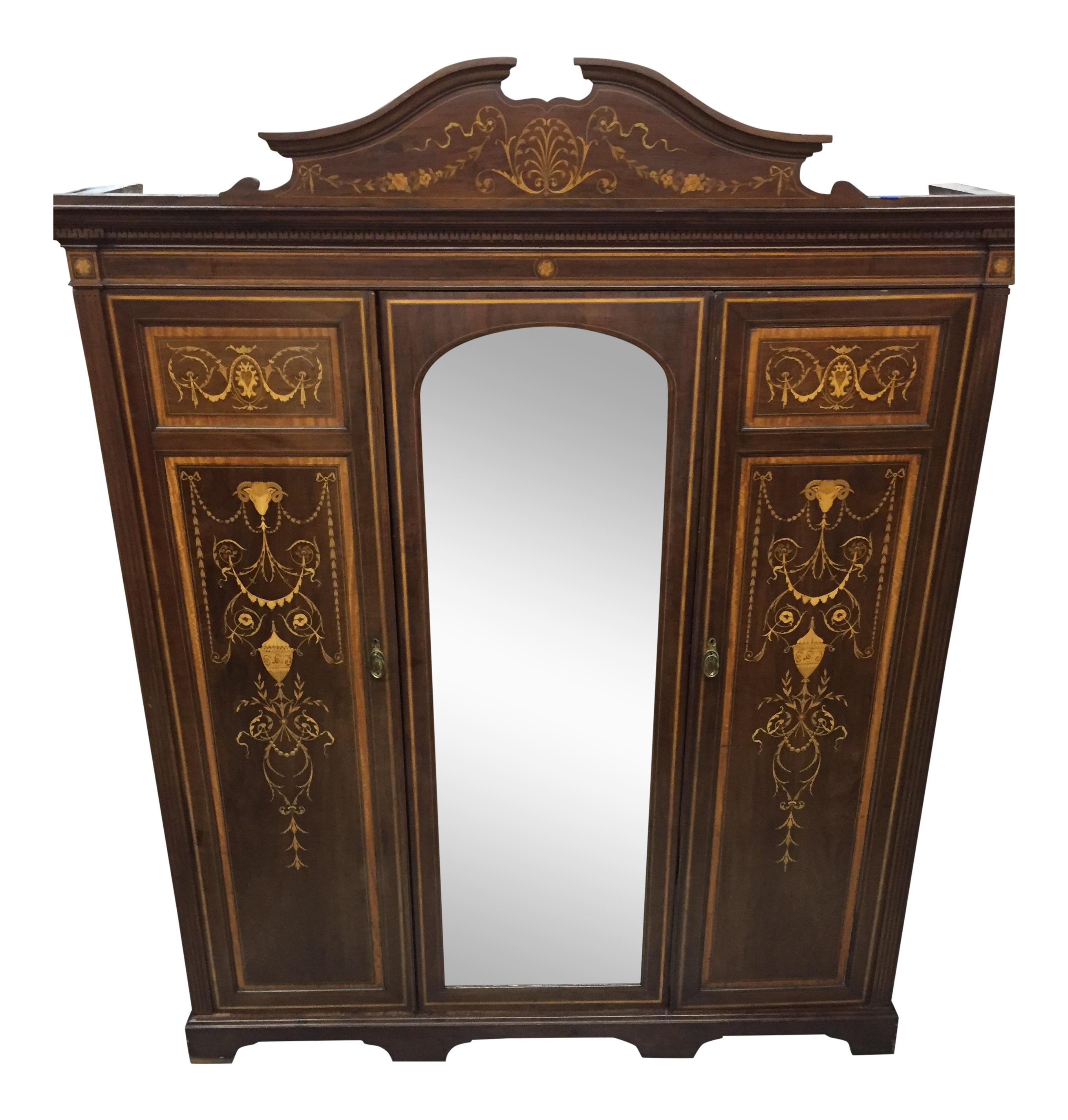 monumental english marquetry armoire by maple co london chairish. Black Bedroom Furniture Sets. Home Design Ideas