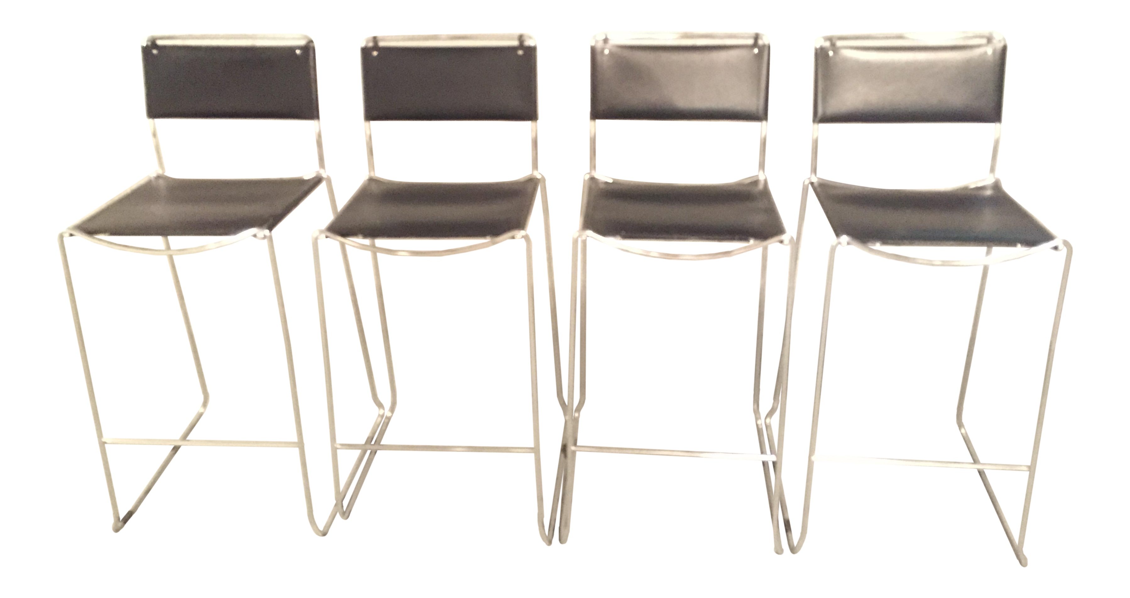 Design Within Reach Italian Leather Chrome Bar Stools - Set of 4 | Chairish  sc 1 st  Chairish : leather and chrome bar stools - islam-shia.org