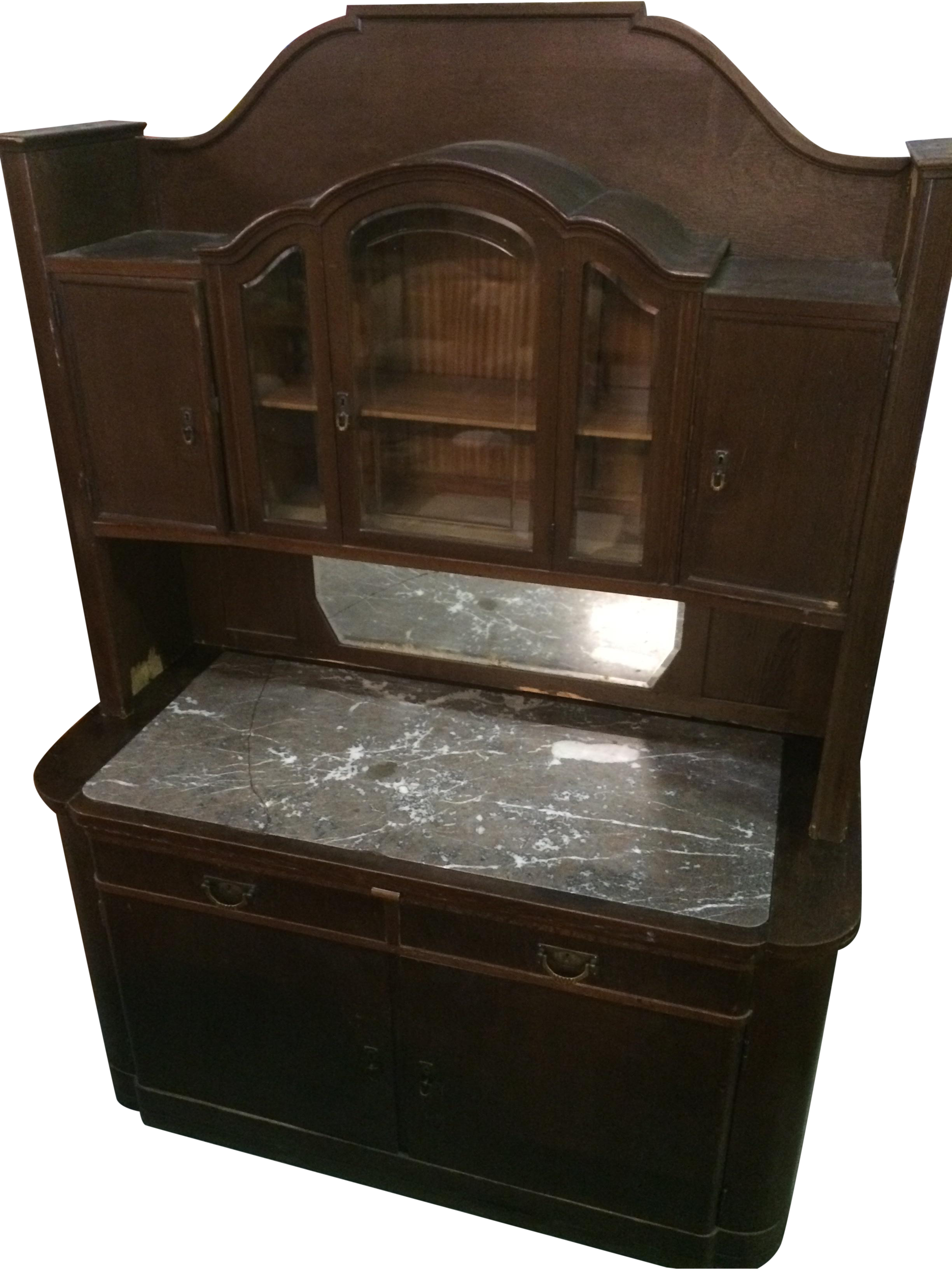 antique marble top dry sink china cabinet chairish
