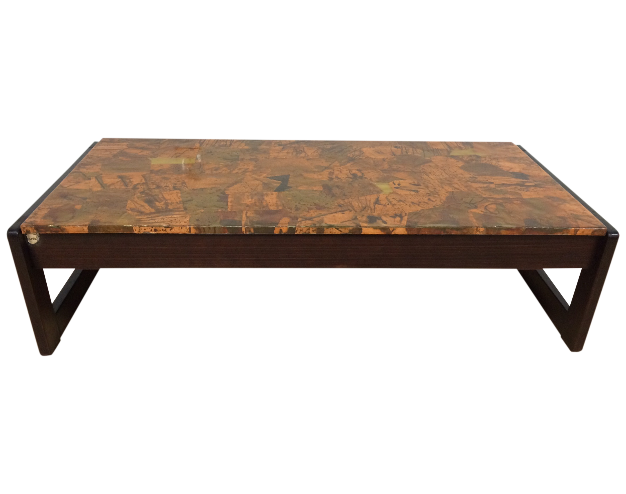 percival lafer copper and rosewood coffee table  chairish - image of percival lafer copper and rosewood coffee table