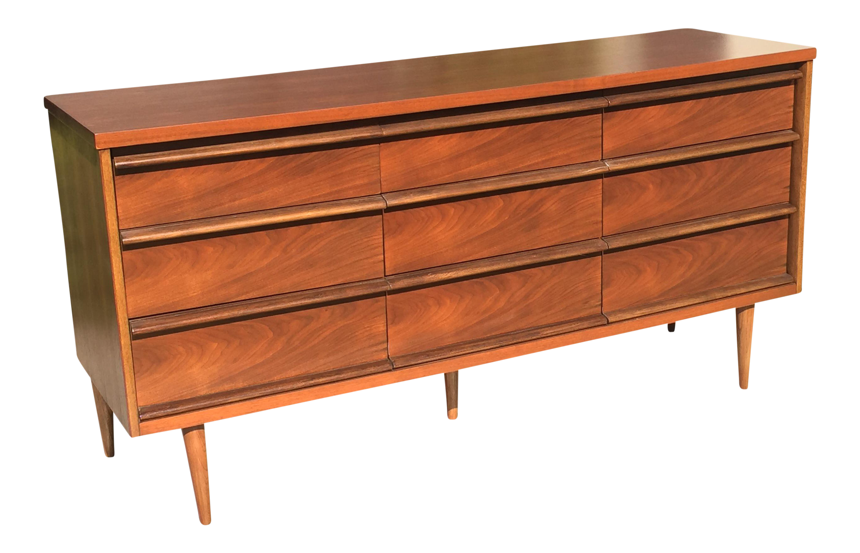 Modern dresser with mirror and chair - Bassett Mid Century 9 Drawer Dresser