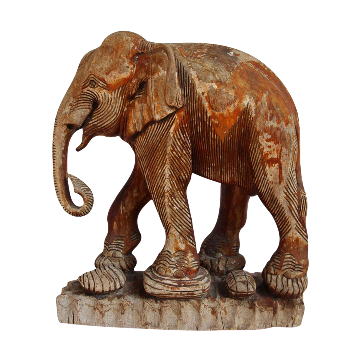 Antique Thai Wood Elephant Chairish