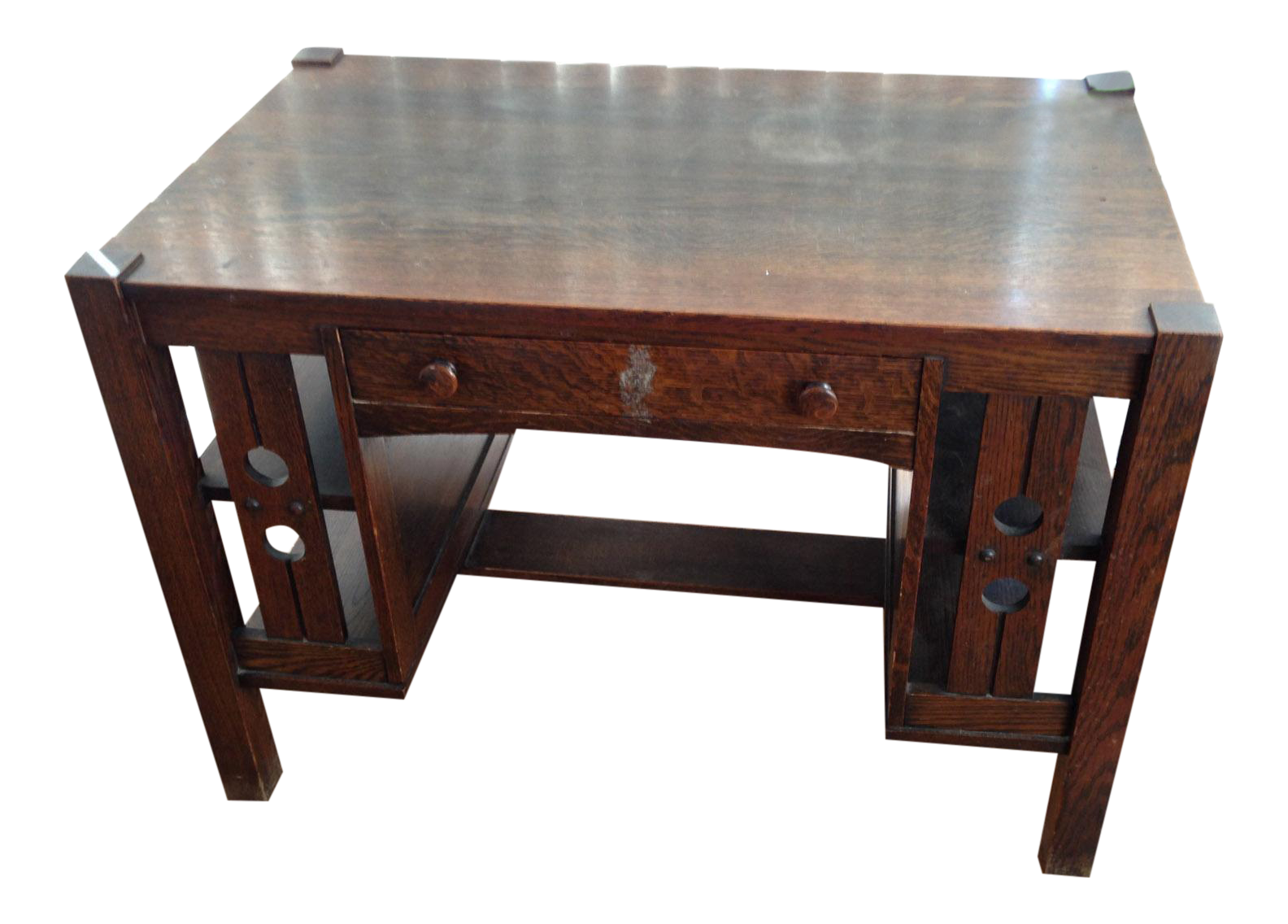 Arts and crafts desks - Image Of Antique Mission Oak Arts And Crafts Library Desk With Shelves