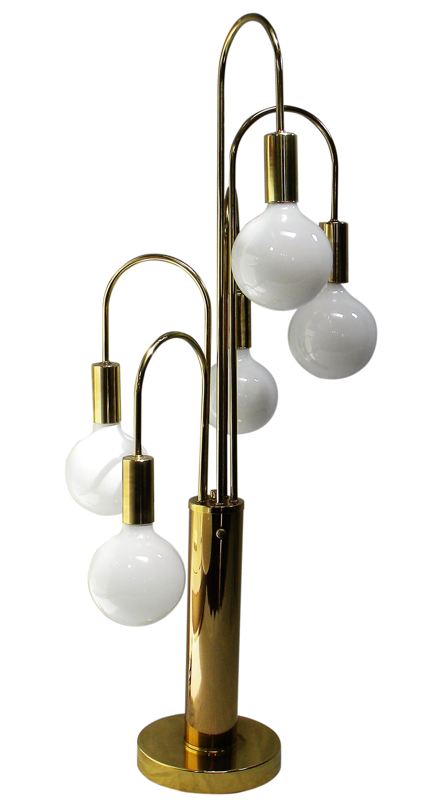 Mid century modern brass with 5 globe table lamp chairish geotapseo Gallery