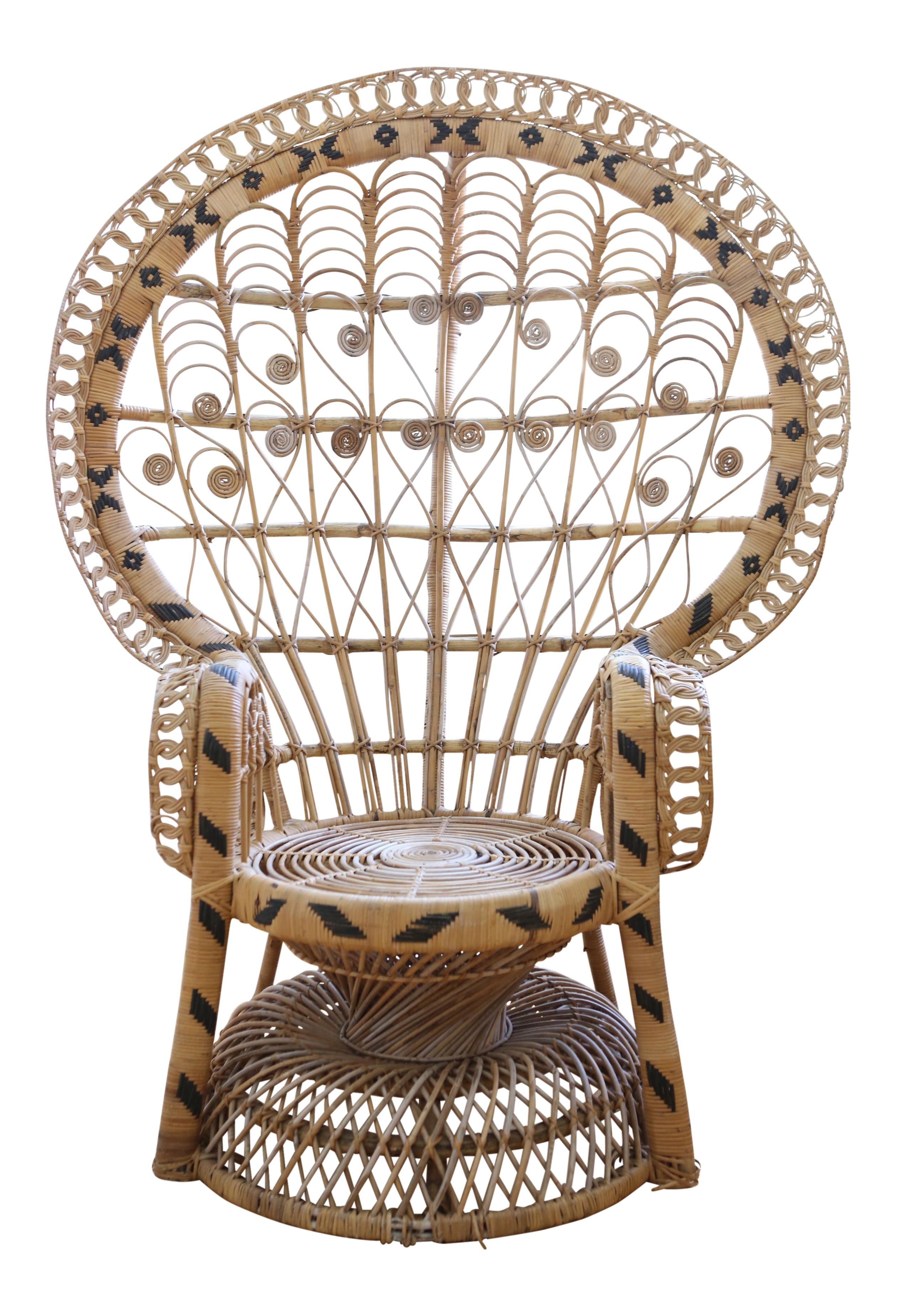 Painted peacock chair - Vintage Rattan And Wicker Peacock Chair