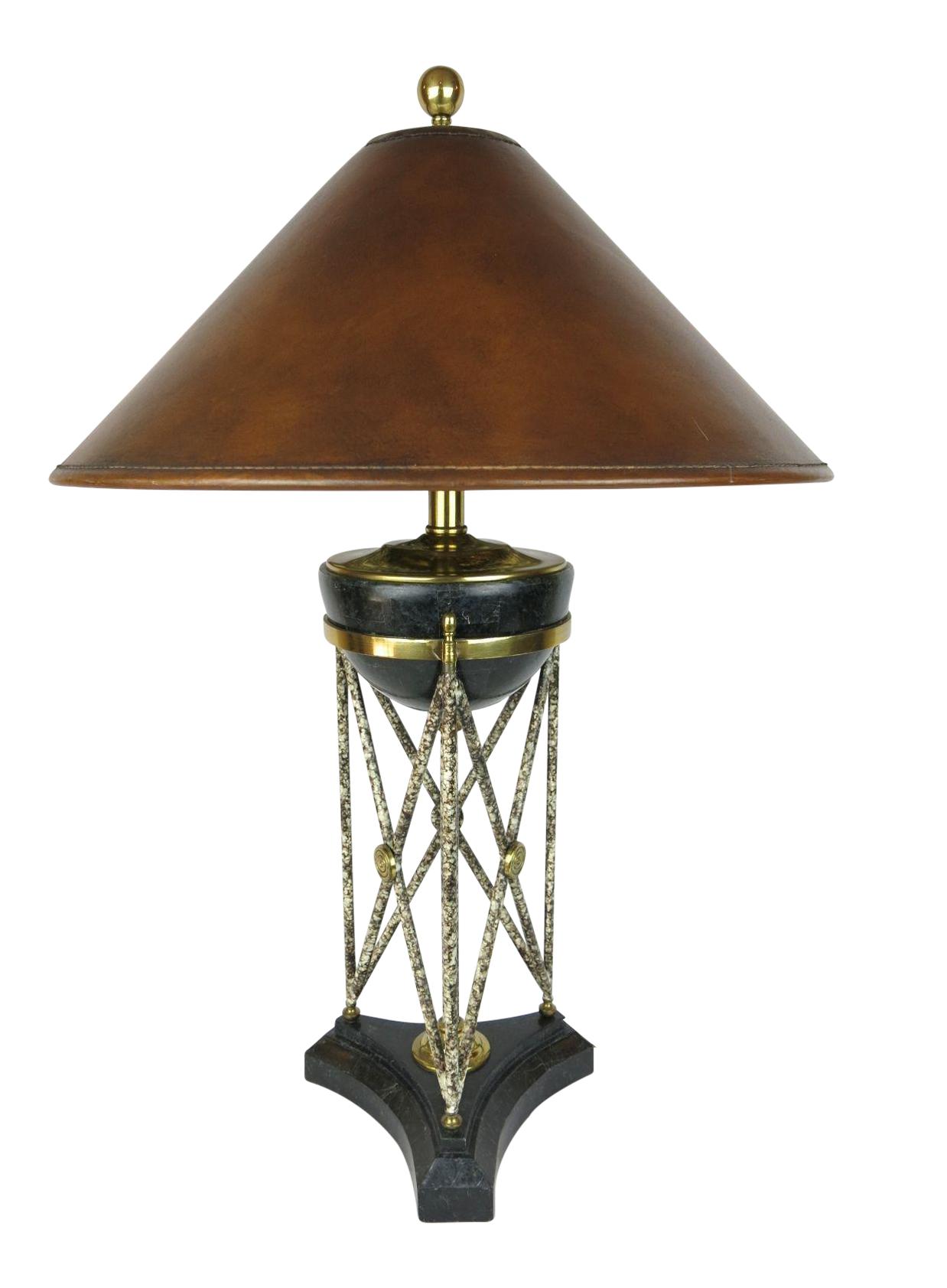 Maitland Smith Marble Amp Brass Eiffel Base Table Lamp