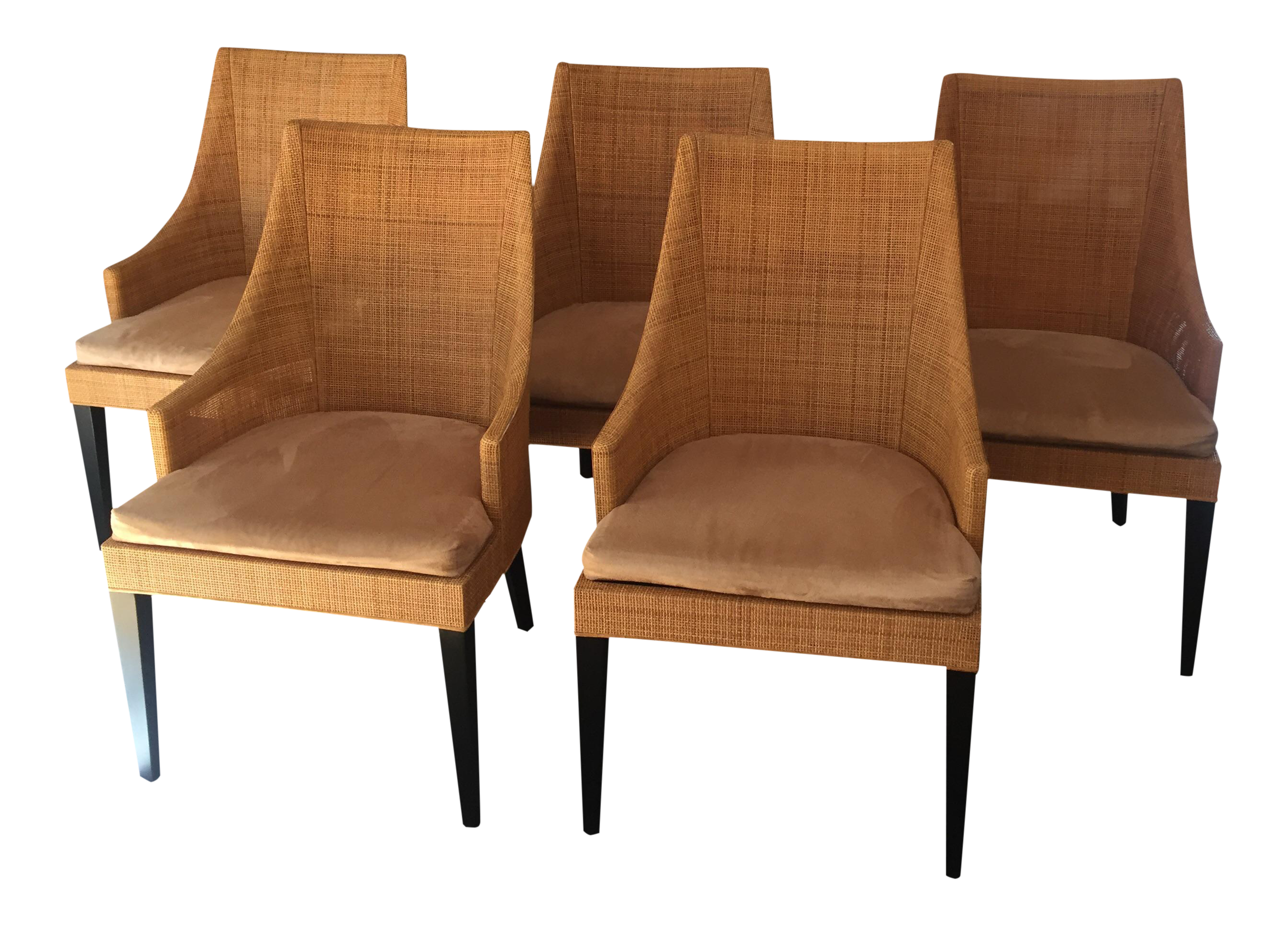 Modern woven dining chairs set of 6 chairish for Modern dining chairs ireland