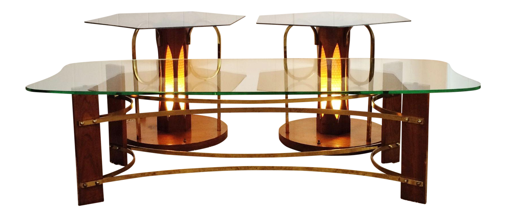 Mid Century Wood Glass Coffee Lighted Side Table Set Of 3 Chairish