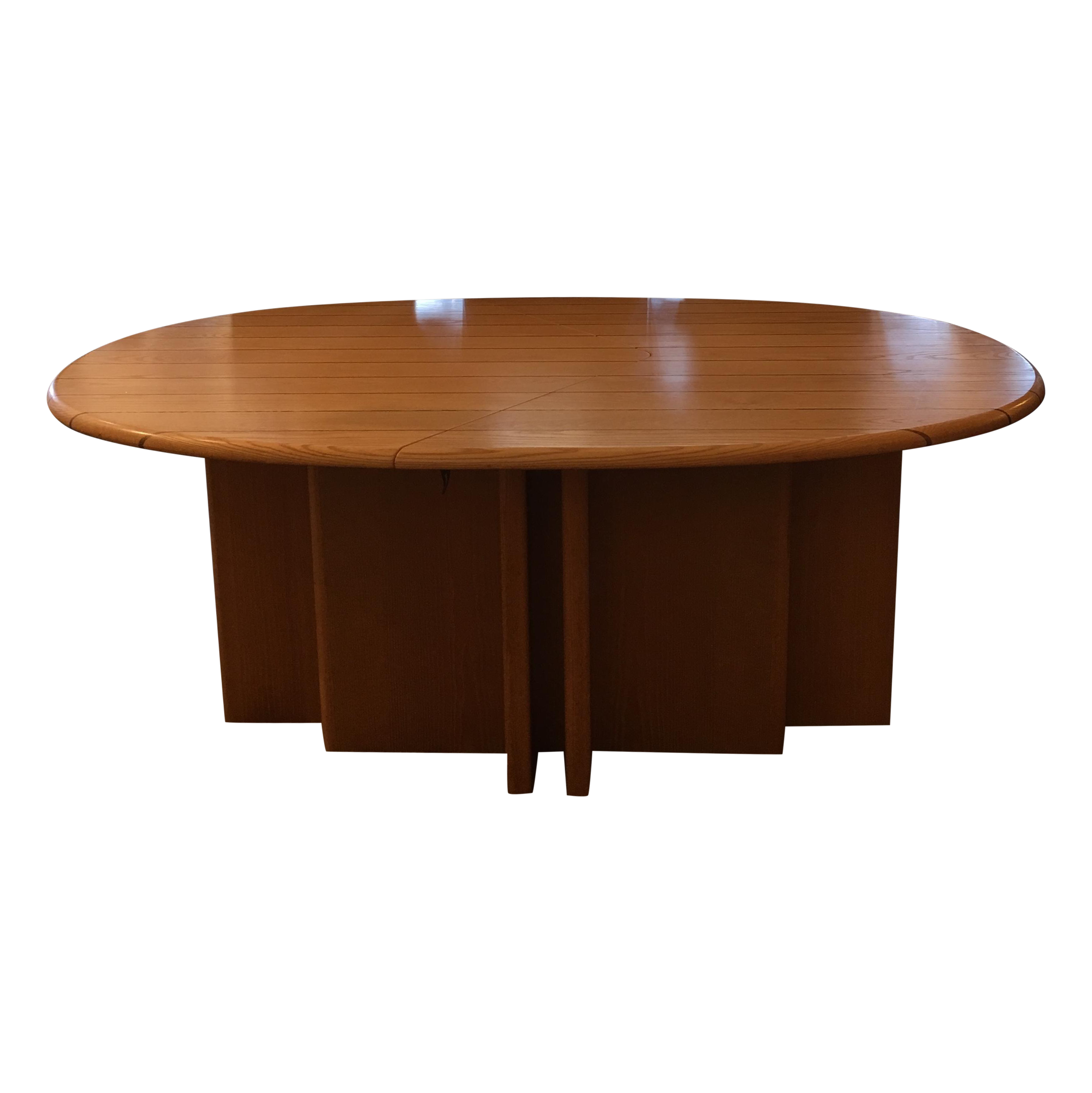 Scandinavian designs oval dining table 4 leaves chairish for Table design oval