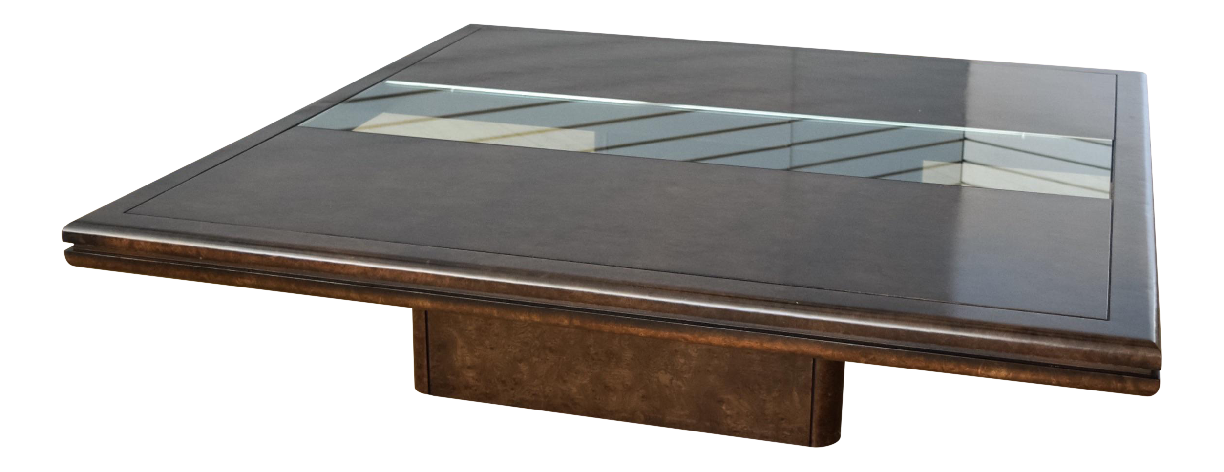 Floating Laquered Burlwood & Glass Coffee Table