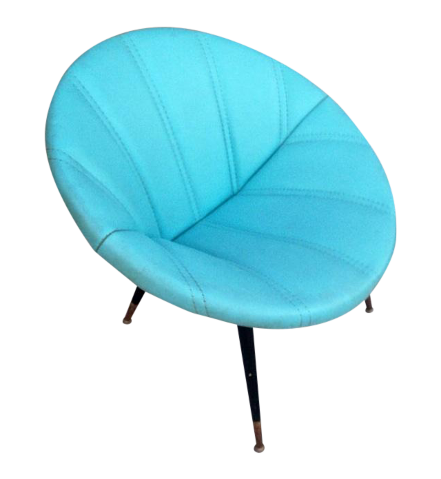 Mid Century Modern Turquoise Clam Saucer Chair Chairish