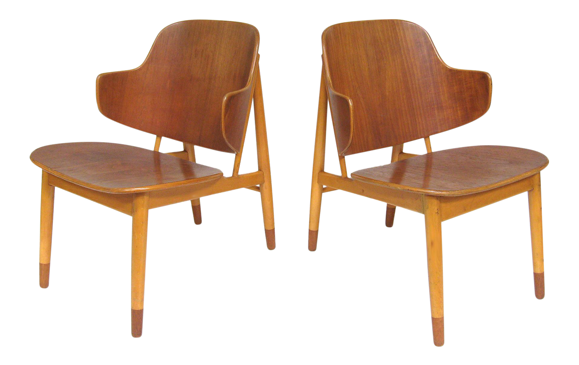 This sculptural pair of lounge chairs by ib kofod larsen is no longer - Image Of Pair Of Lounge Chairs In Teak And Birch By Ib Kofod Larsen