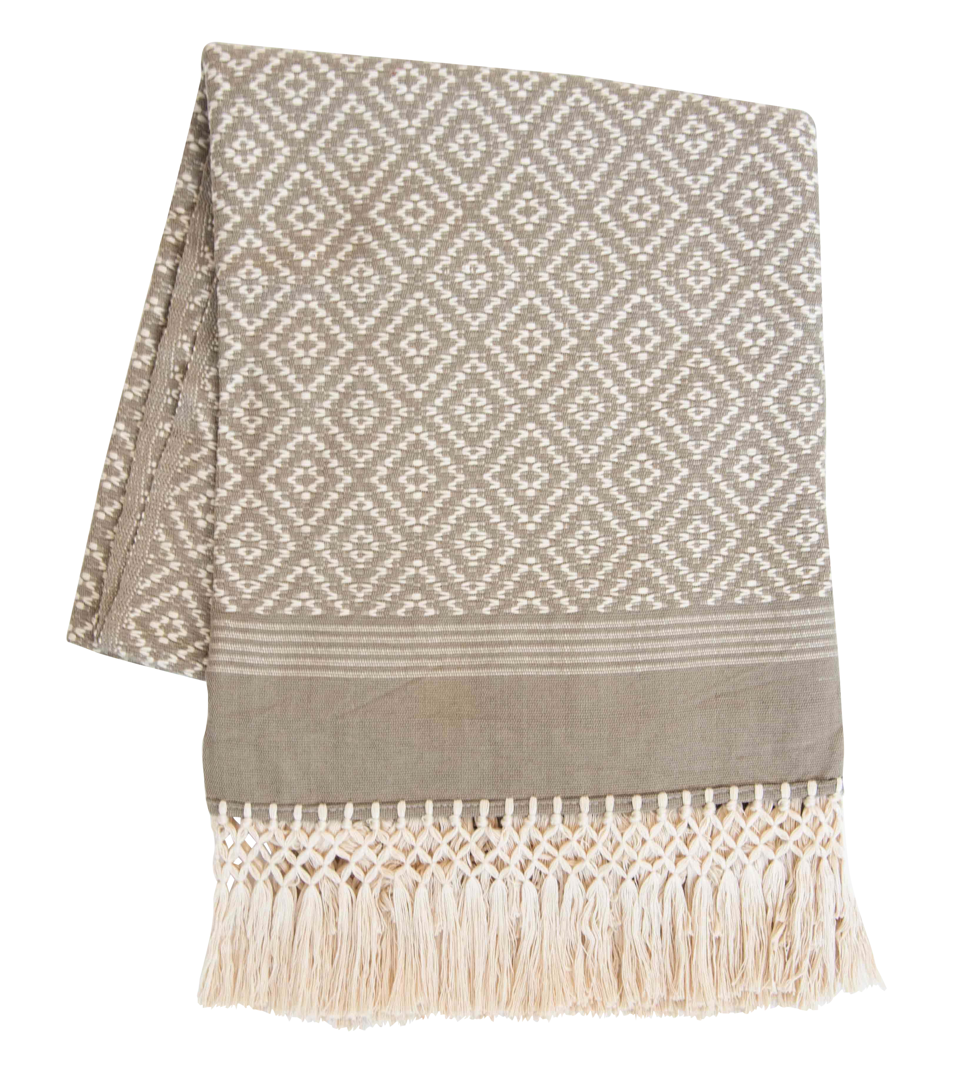 Taupe Amp Cream Handwoven Mexican Throw Chairish