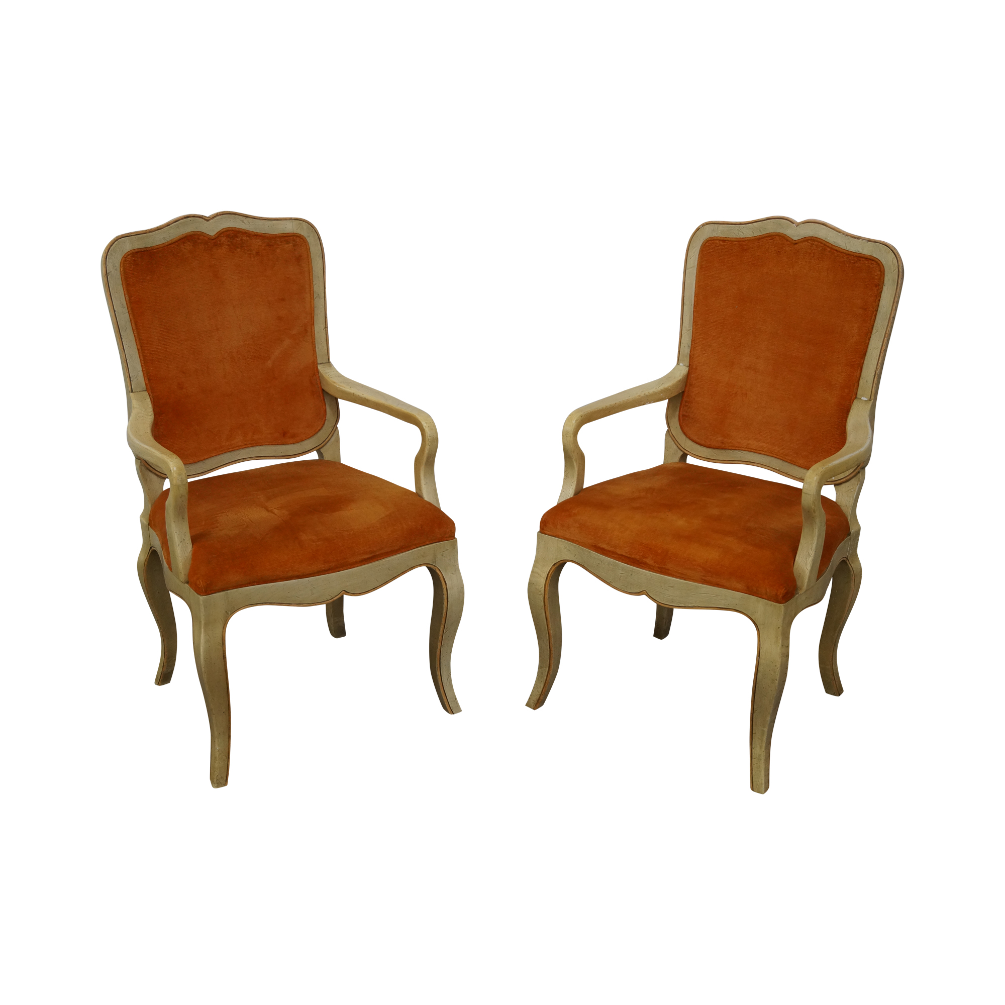 Baker French Country Style Painted Arm Chairs A Pair