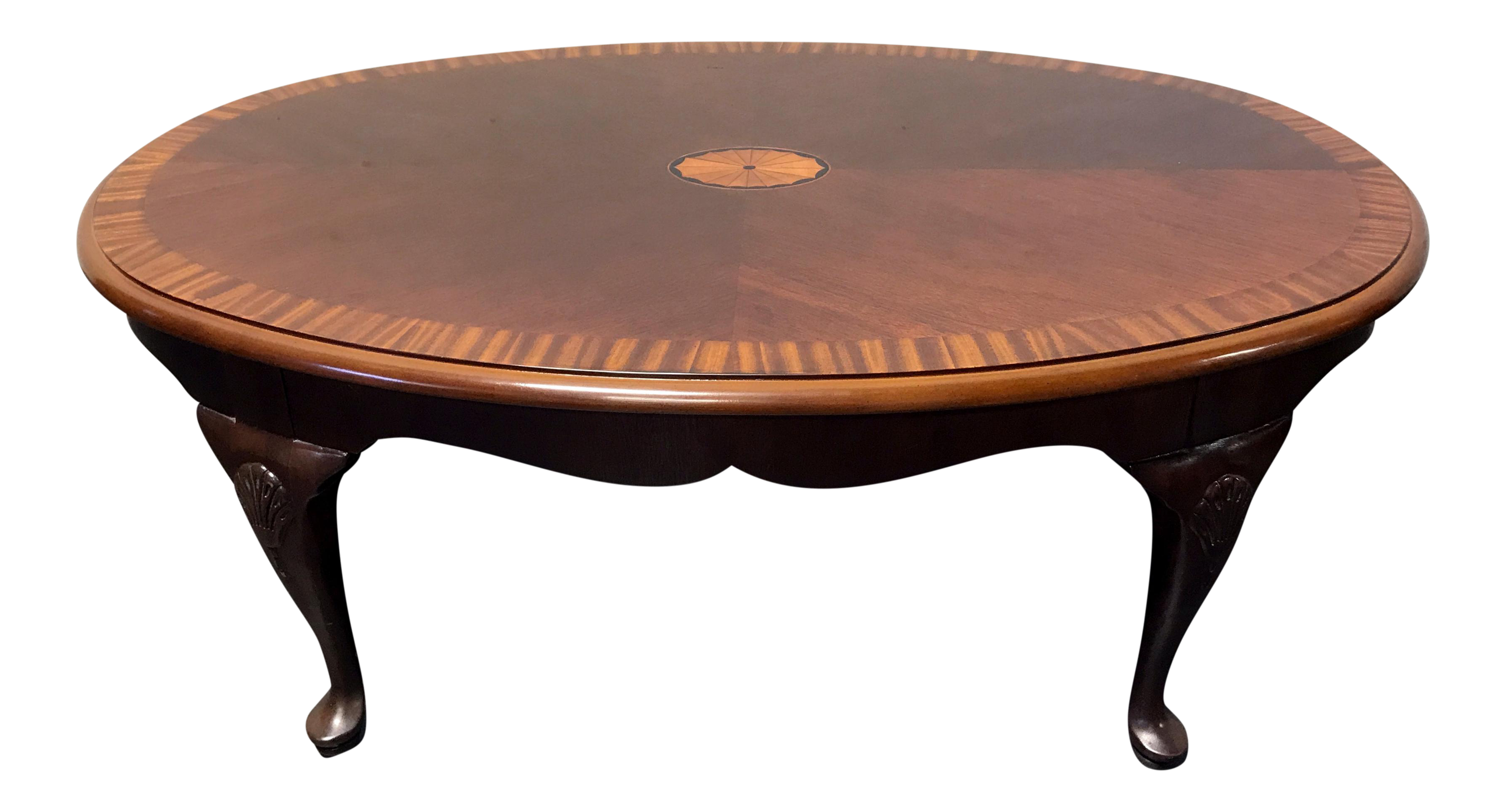 drexel banded inlaid mahogany queen anne coffee table | chairish
