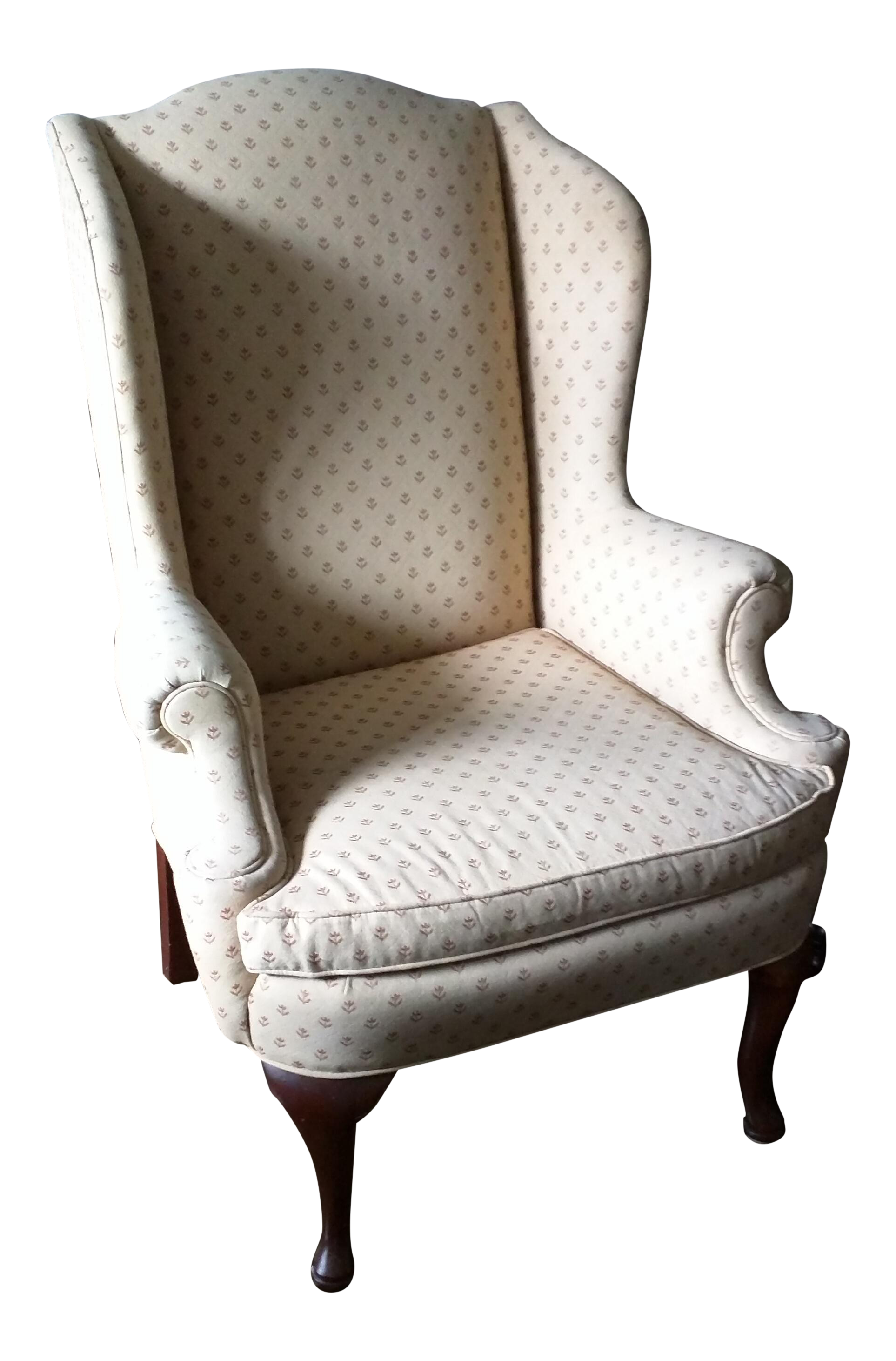 Antique queen anne wingback chair - Image Of Antique Queen Anne Wingback Chair