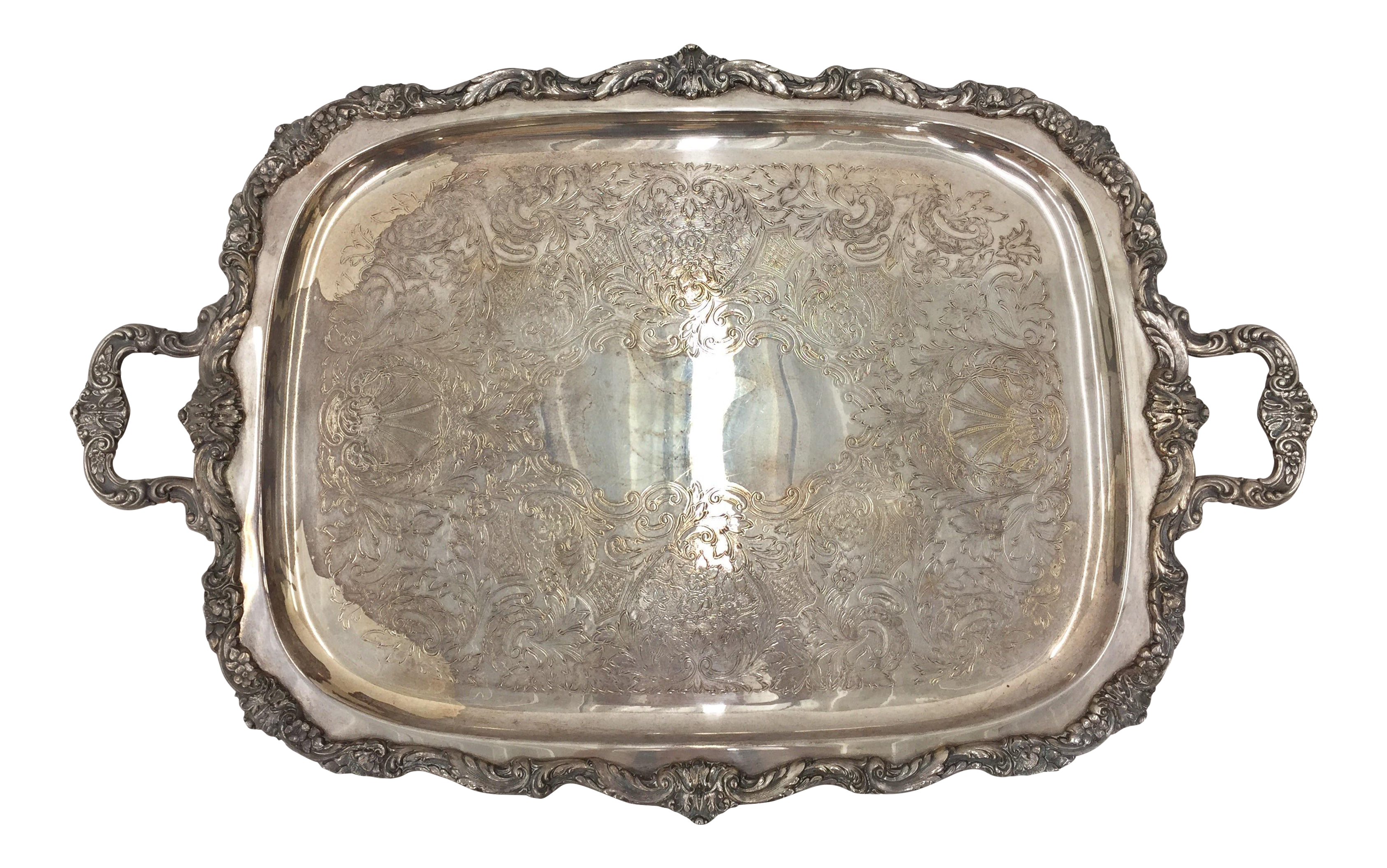 Vintage Silver Plated Serving Tray Chairish
