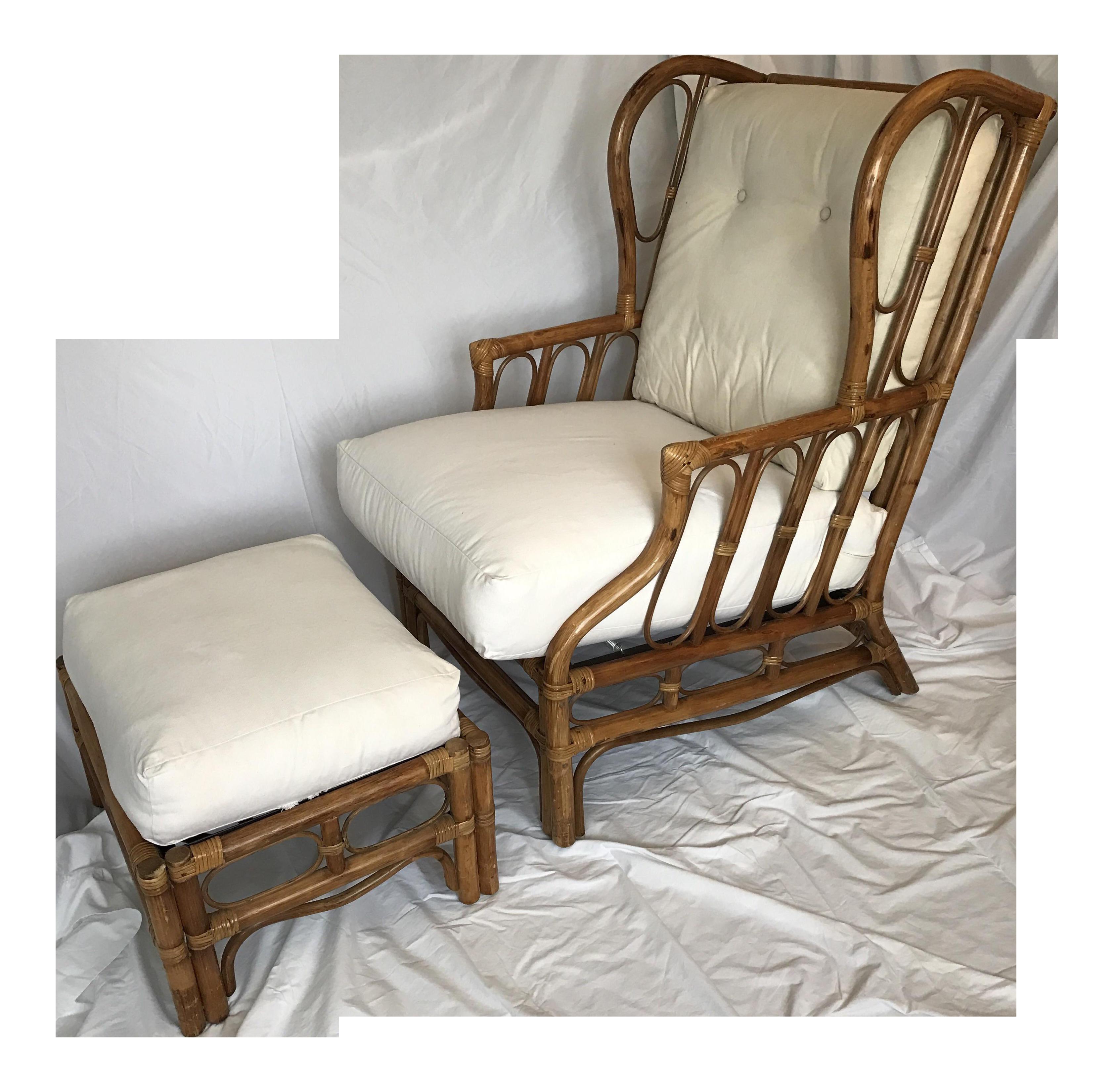 Vintage Rattan Wingback Chair & Ottoman A Pair