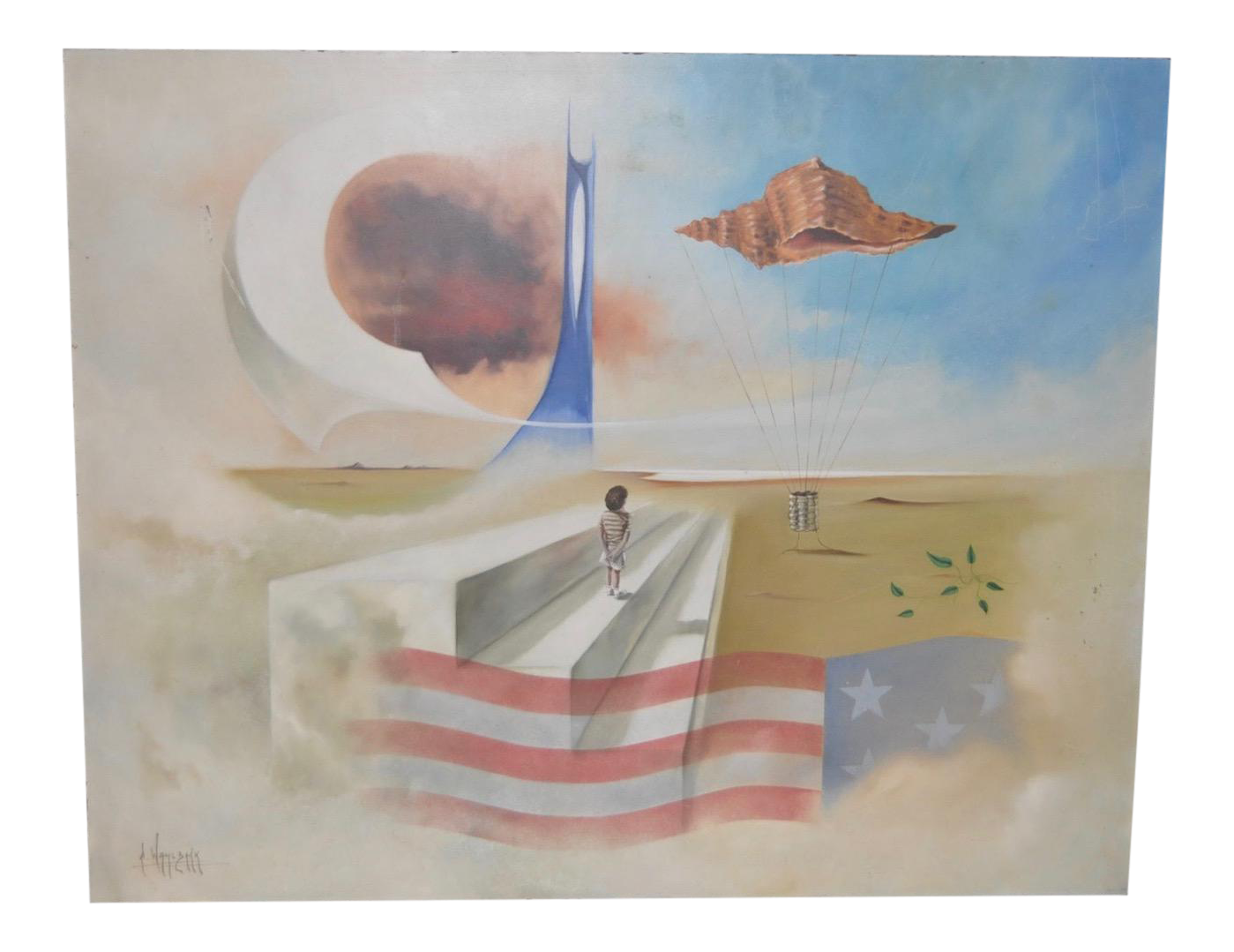 Carlo Wahlbeck Surreal Landscape Painting C 1970 Chairish