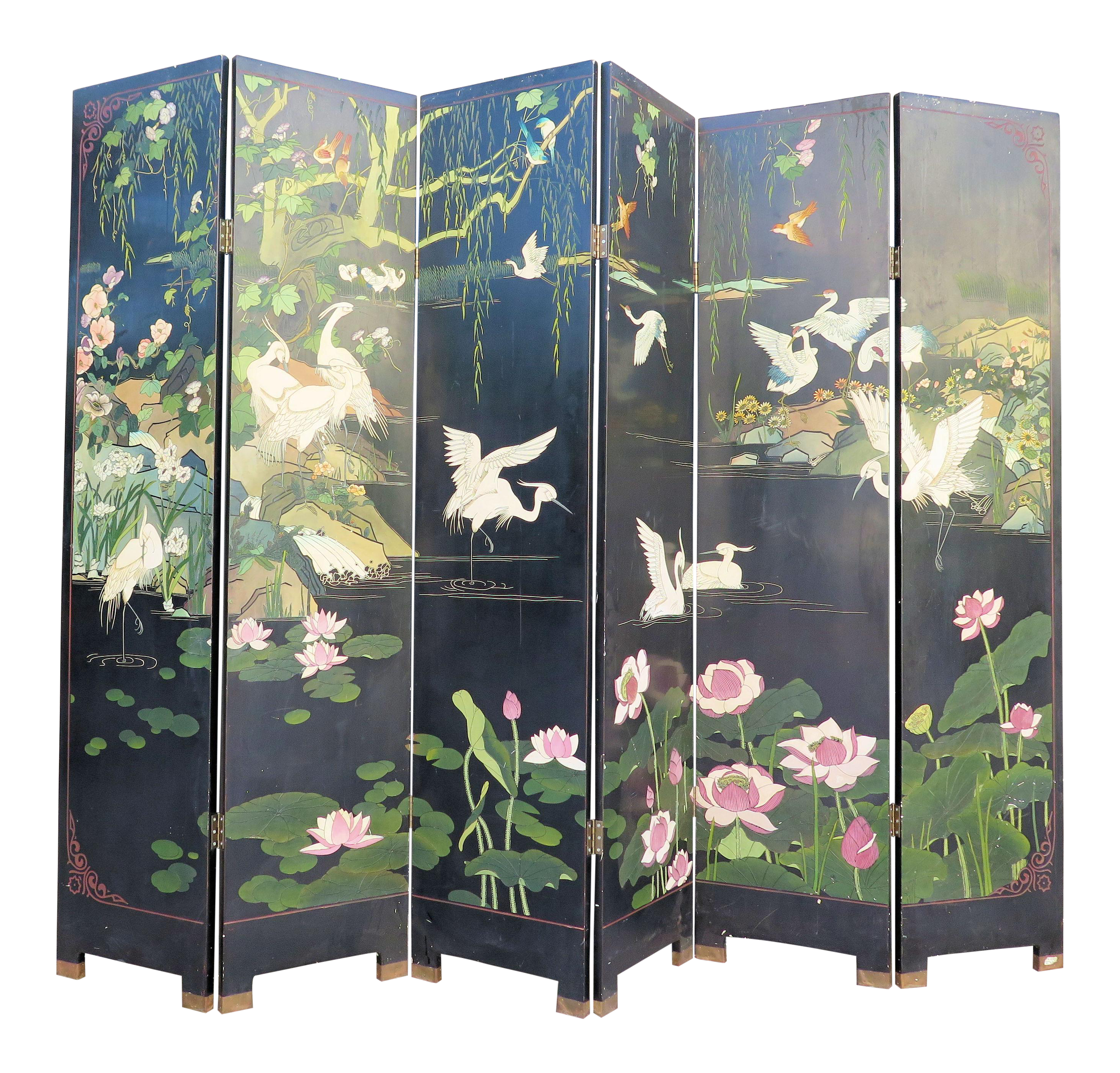Antique japanese screens for sale - 1940 S Monumental 6 Panel Japanese Screen