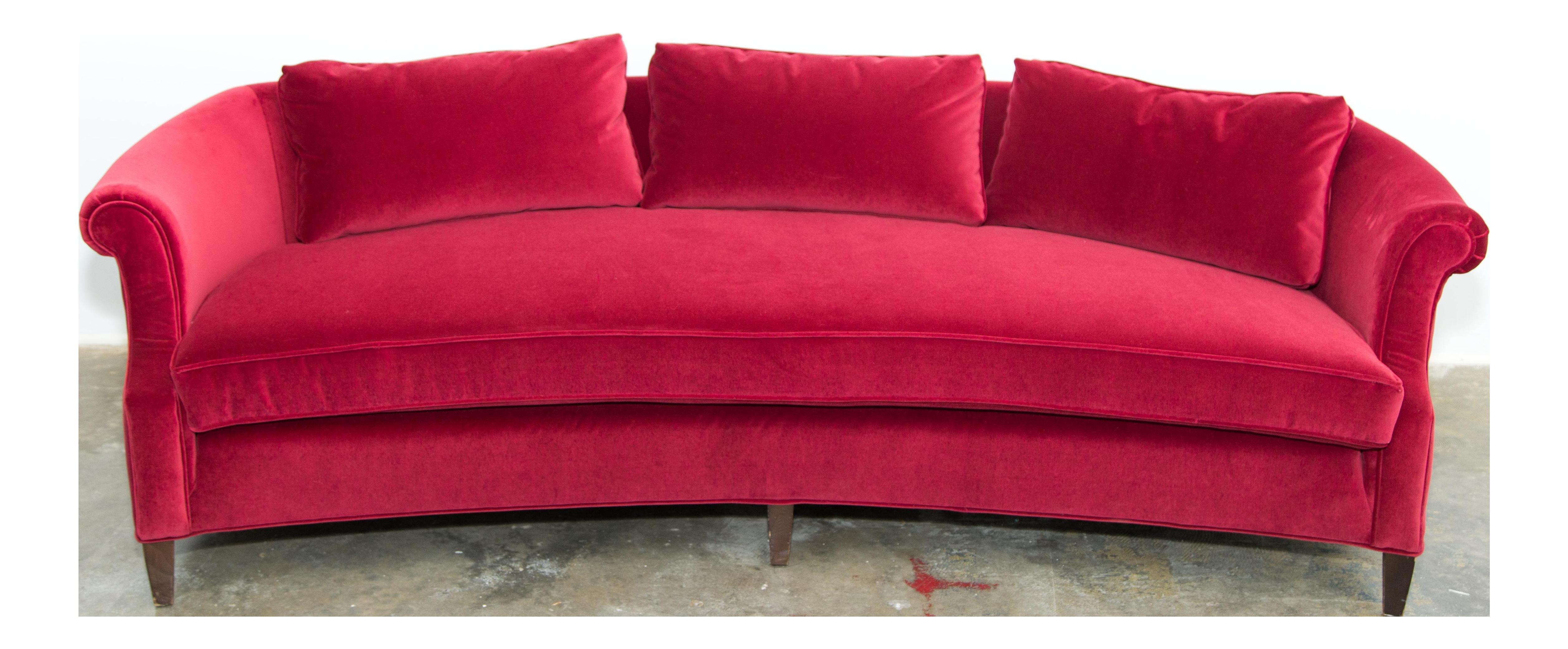 Drexel Heritage Dorothy Draper Sofa in a Luxe Red Velvet Fabric