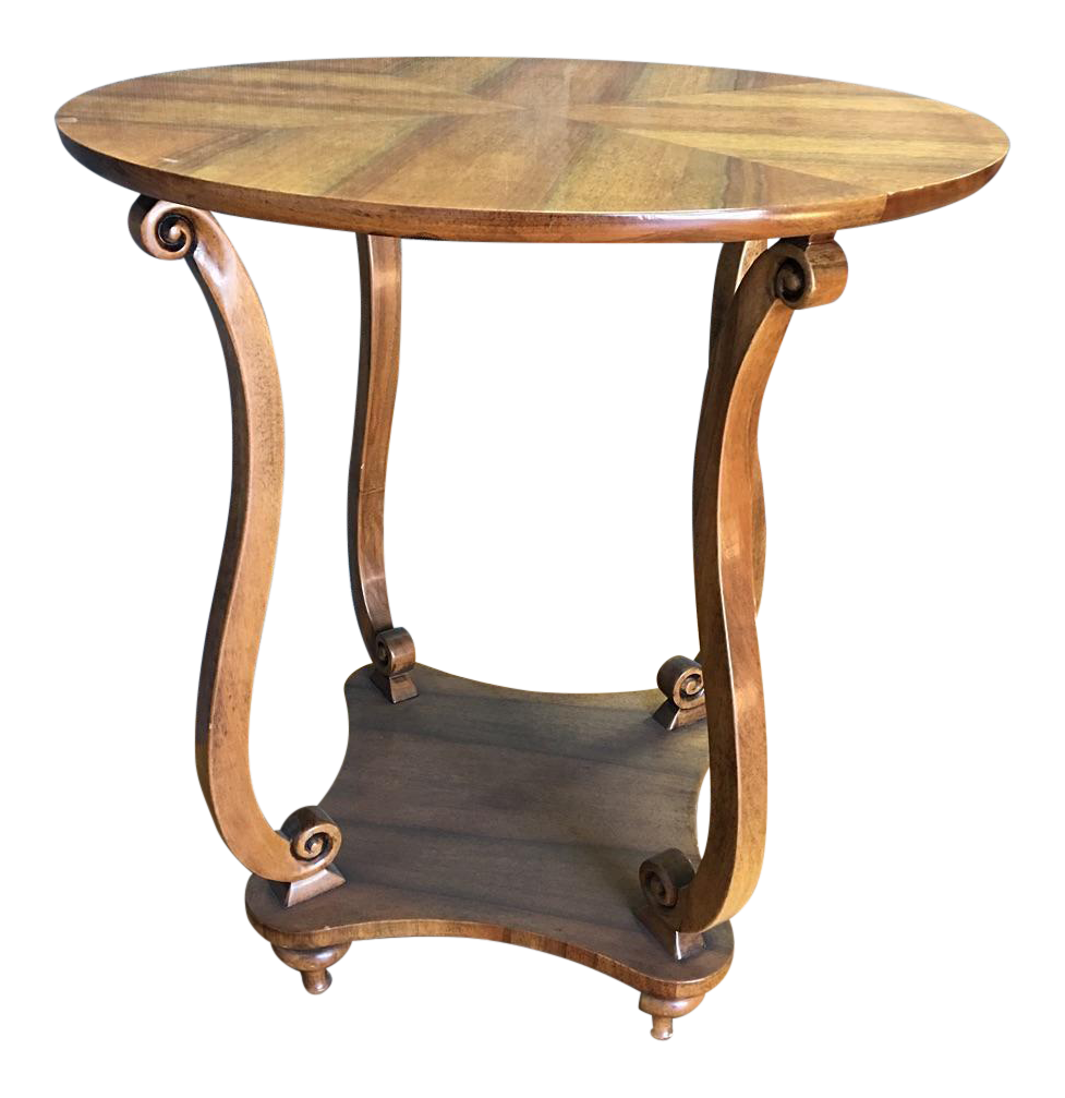 Traditional wooden round end table chairish for Table 6 handbook 44
