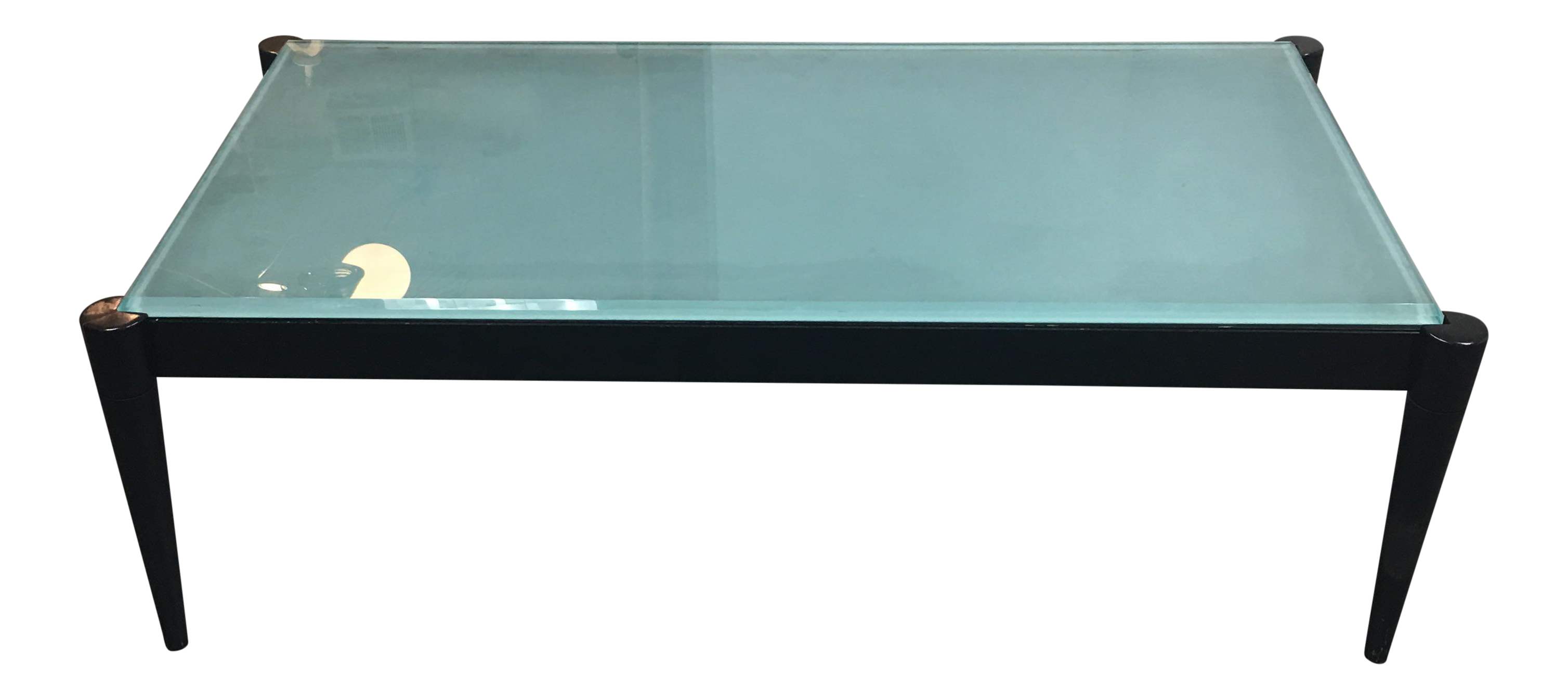 Black Wood Frosted Glass Top Coffee Table Chairish