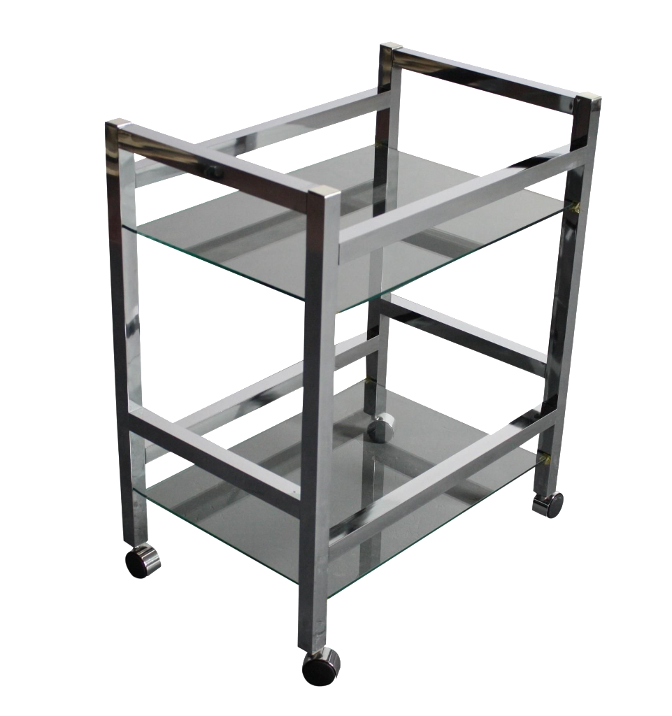 mid century modern chrome bar cart tea cart chairish. Black Bedroom Furniture Sets. Home Design Ideas