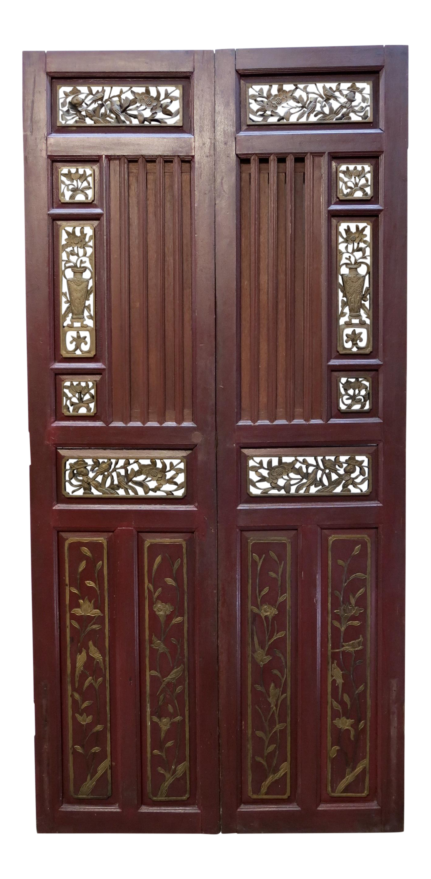 Antique Chinese Hand Carved Wooden Doors A Pair Chairish