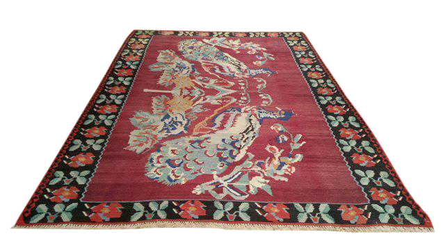 Vintage Turkish Kilim Hand Made Rug 7 X10 Size Cat