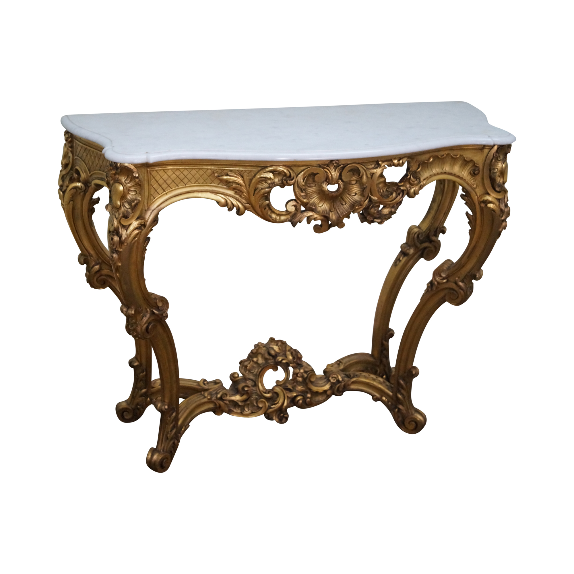 Antique Louis XV Rococo Gilt Wood & Marble Console