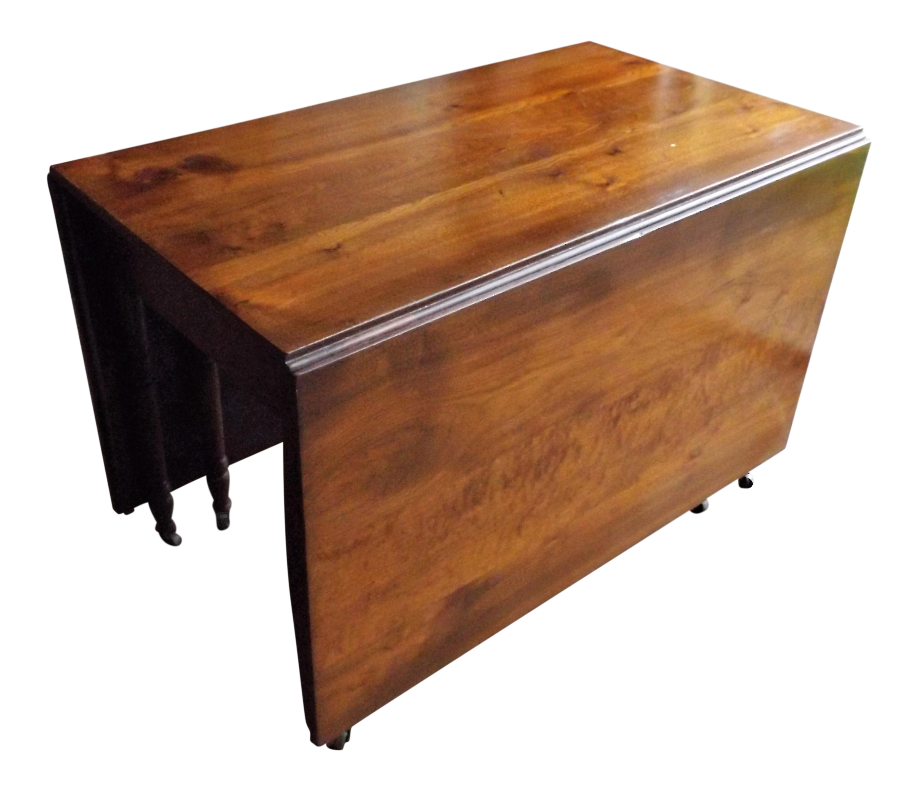 Large cherry drop leaf gate leg dining table chairish for Large kitchen tables with leaves