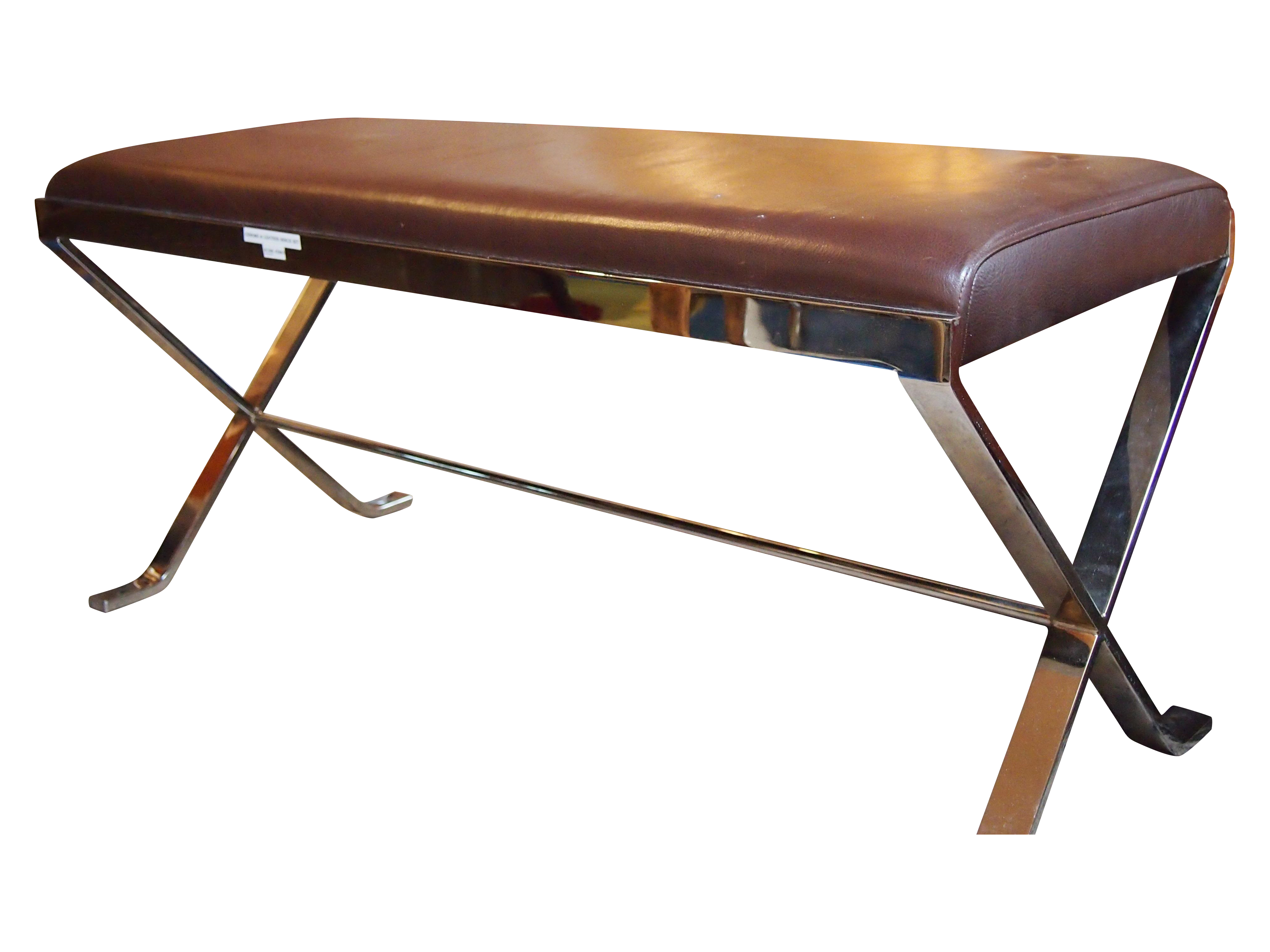 Modernist Brown Leather Chrome Bench Seat Chairish