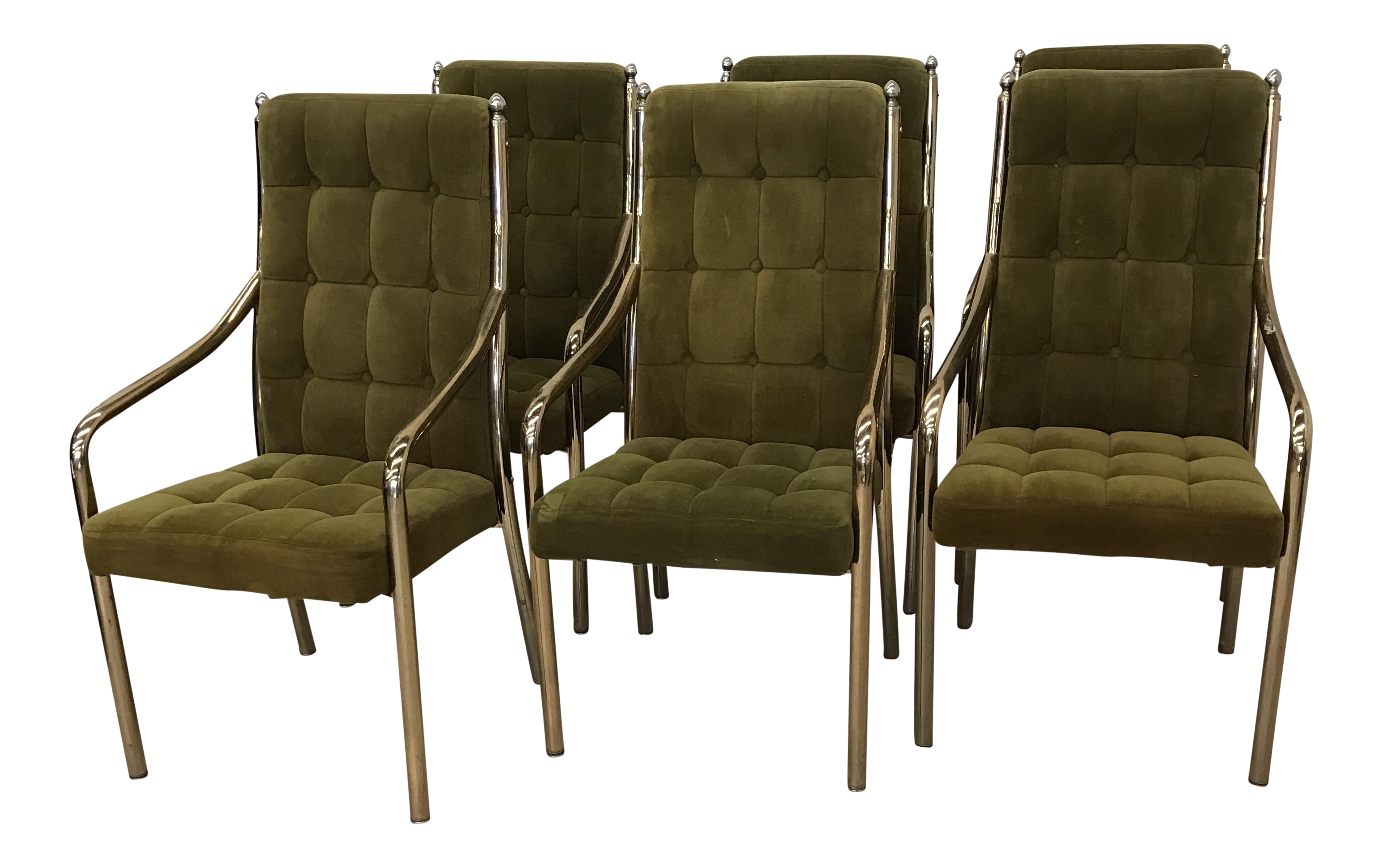 Chromcraft Green Velvet & Brass Dining Chairs Set of 6