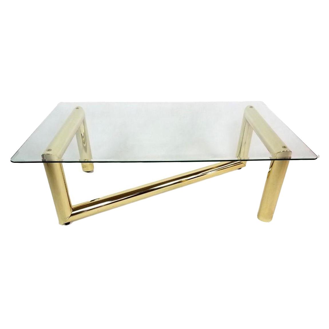 karl springer tubular brass z-shaped coffee table | chairish