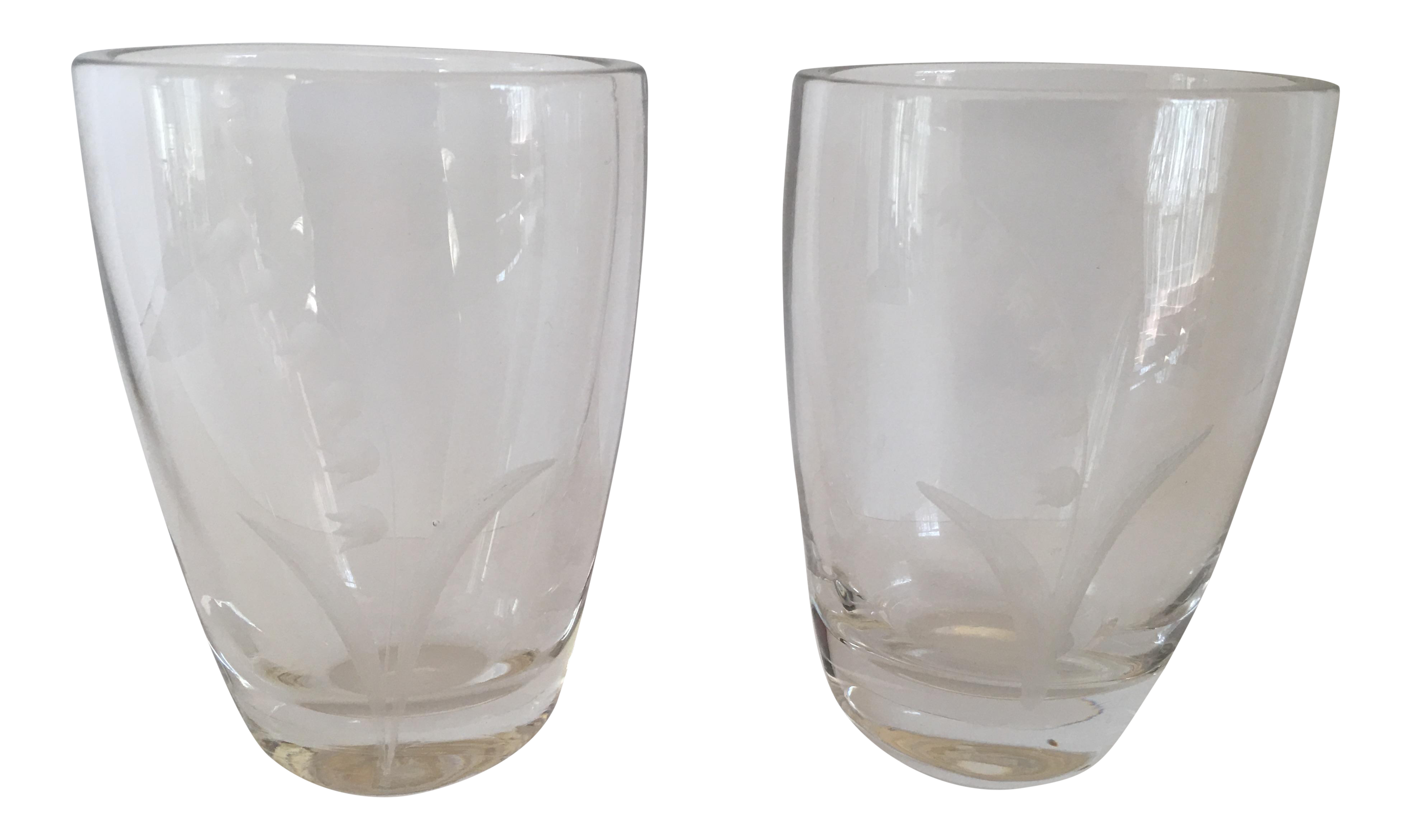 Signed Swedish Glass Vase A Pair Chairish