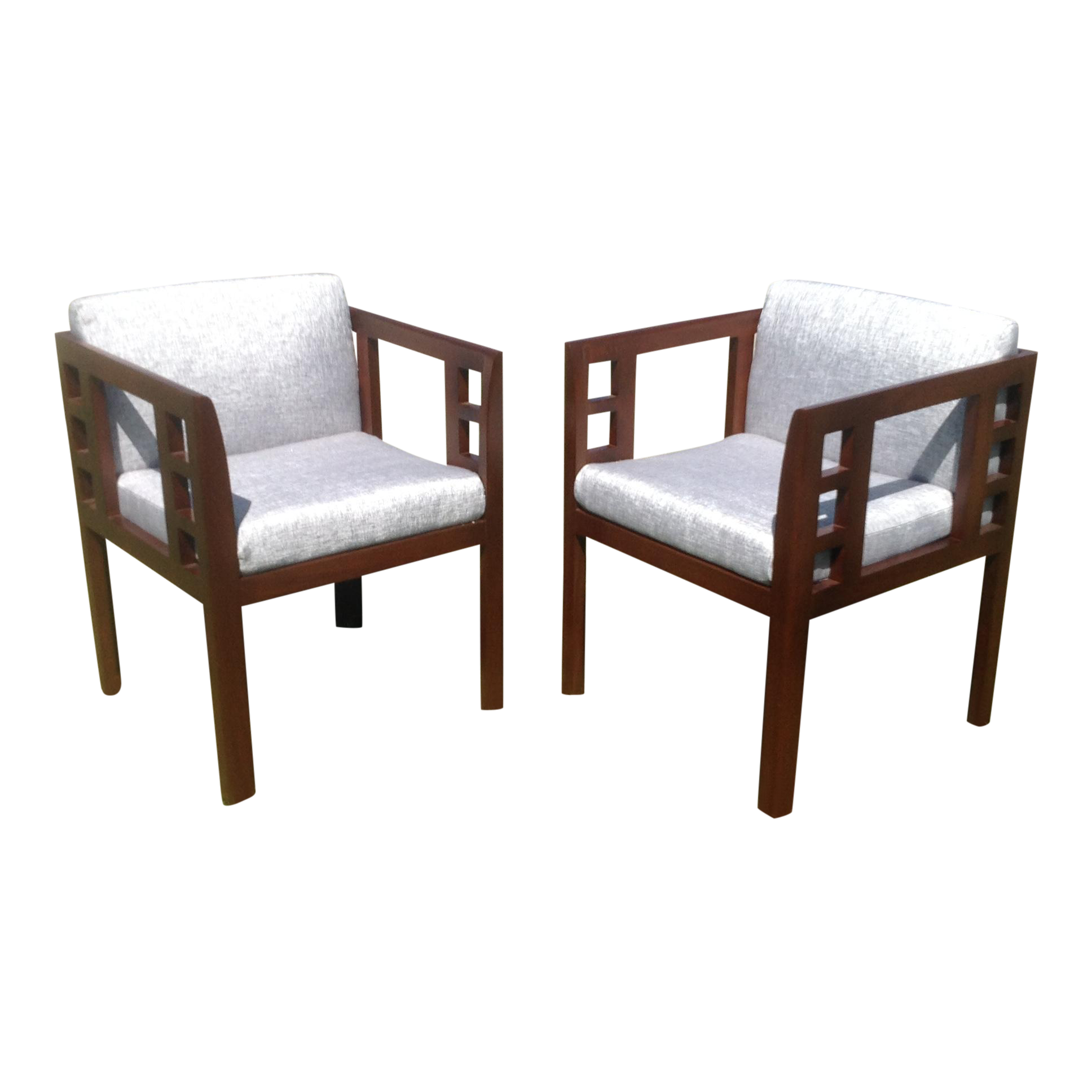 mid century modern accent chairs a pair chairish. Black Bedroom Furniture Sets. Home Design Ideas