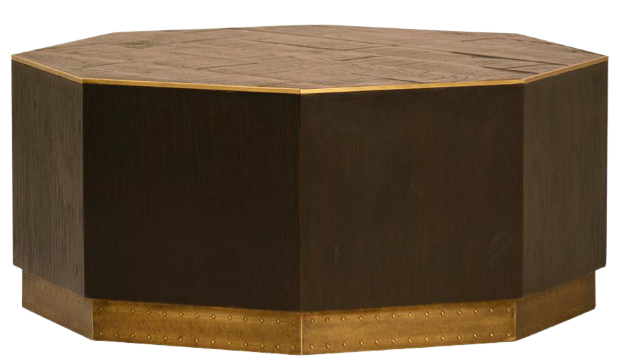 Image Of Wood Brass Octagon Coffee Table