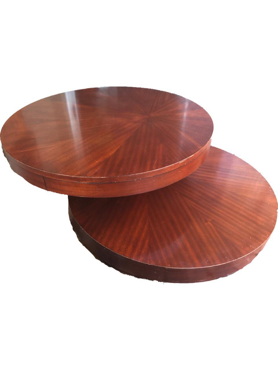 Round wooden rotating coffee table chairish geotapseo Image collections