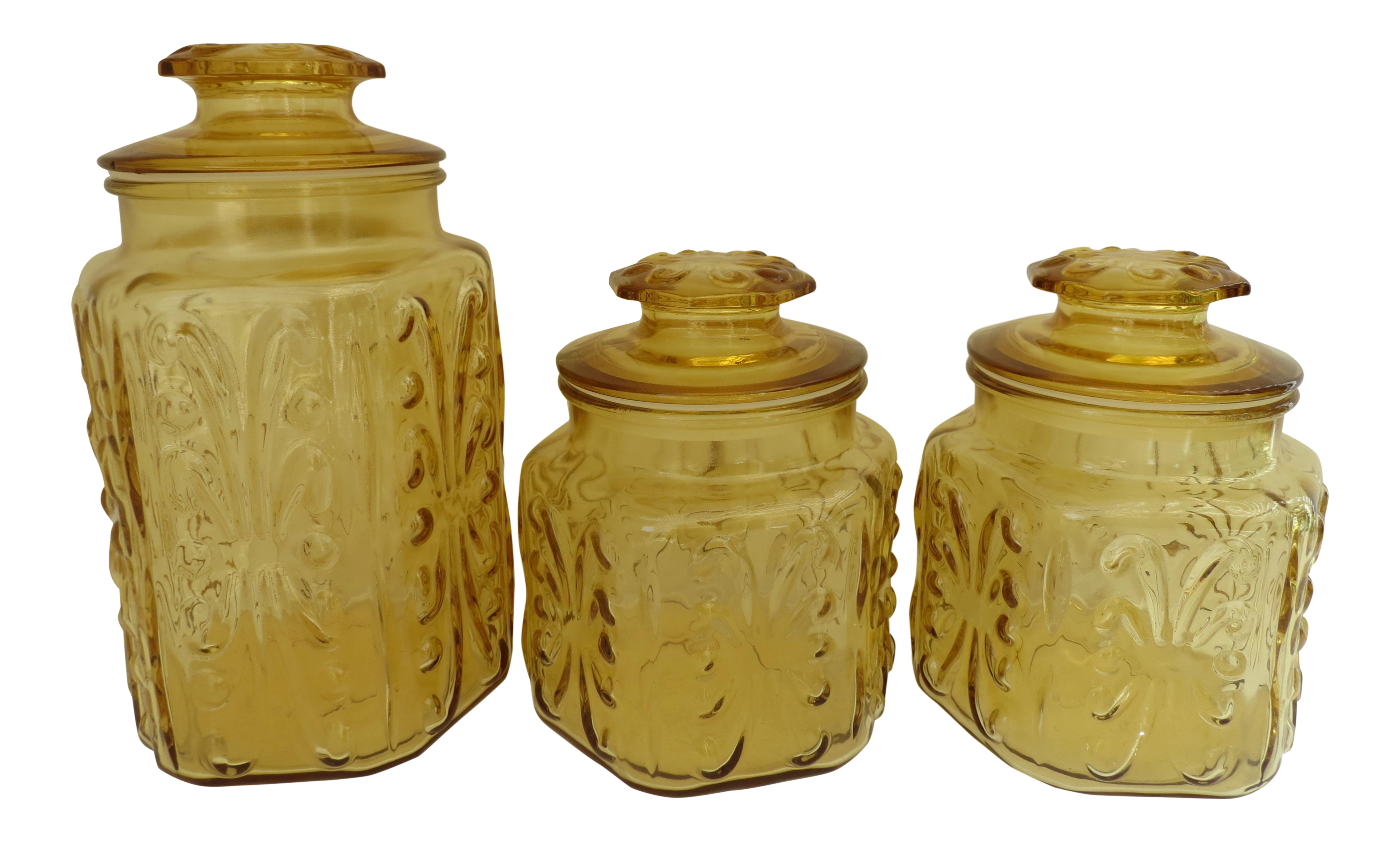 amber glass kitchen canisters - set of 3   chairish