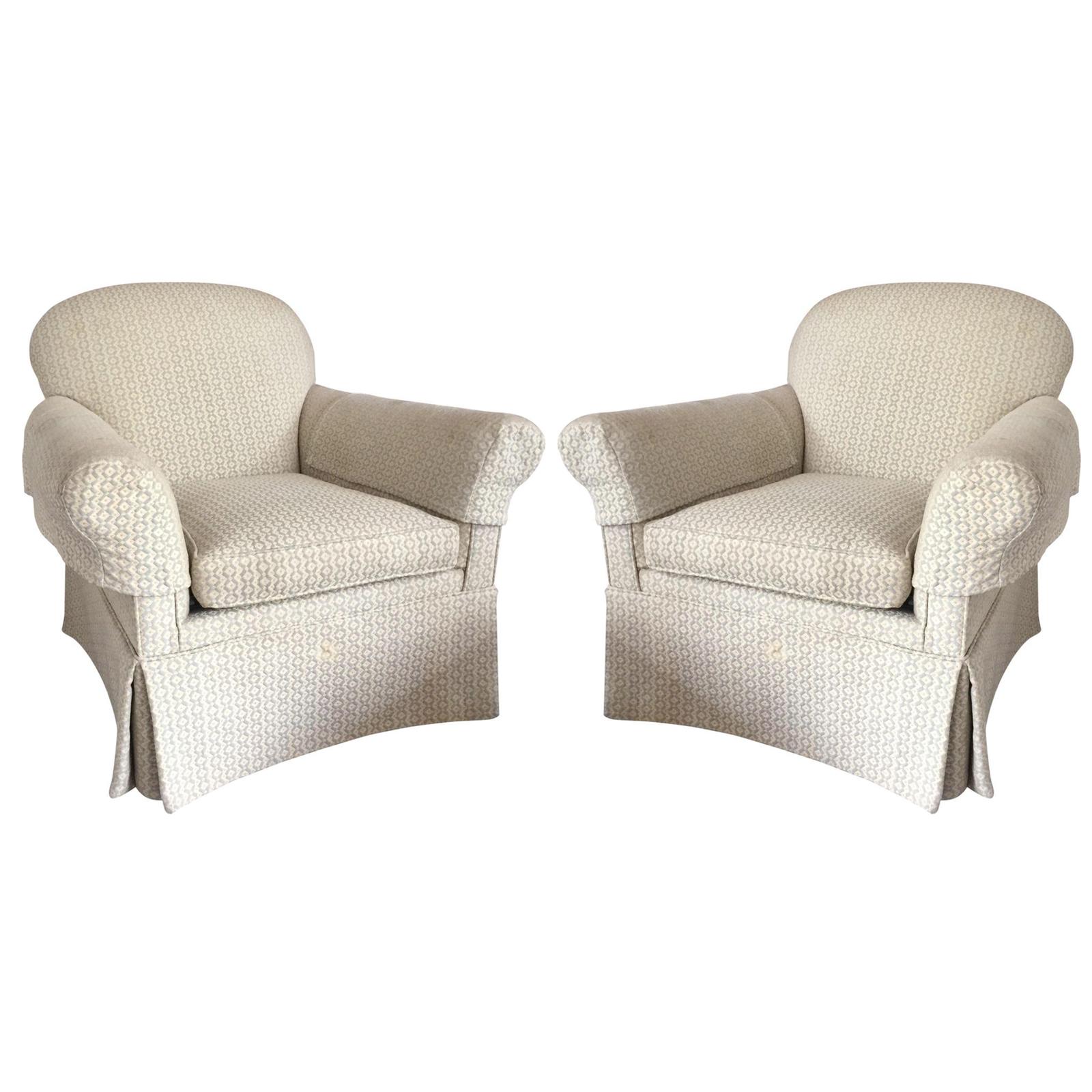 Skirted Club Chairs - A Pair | Chairish