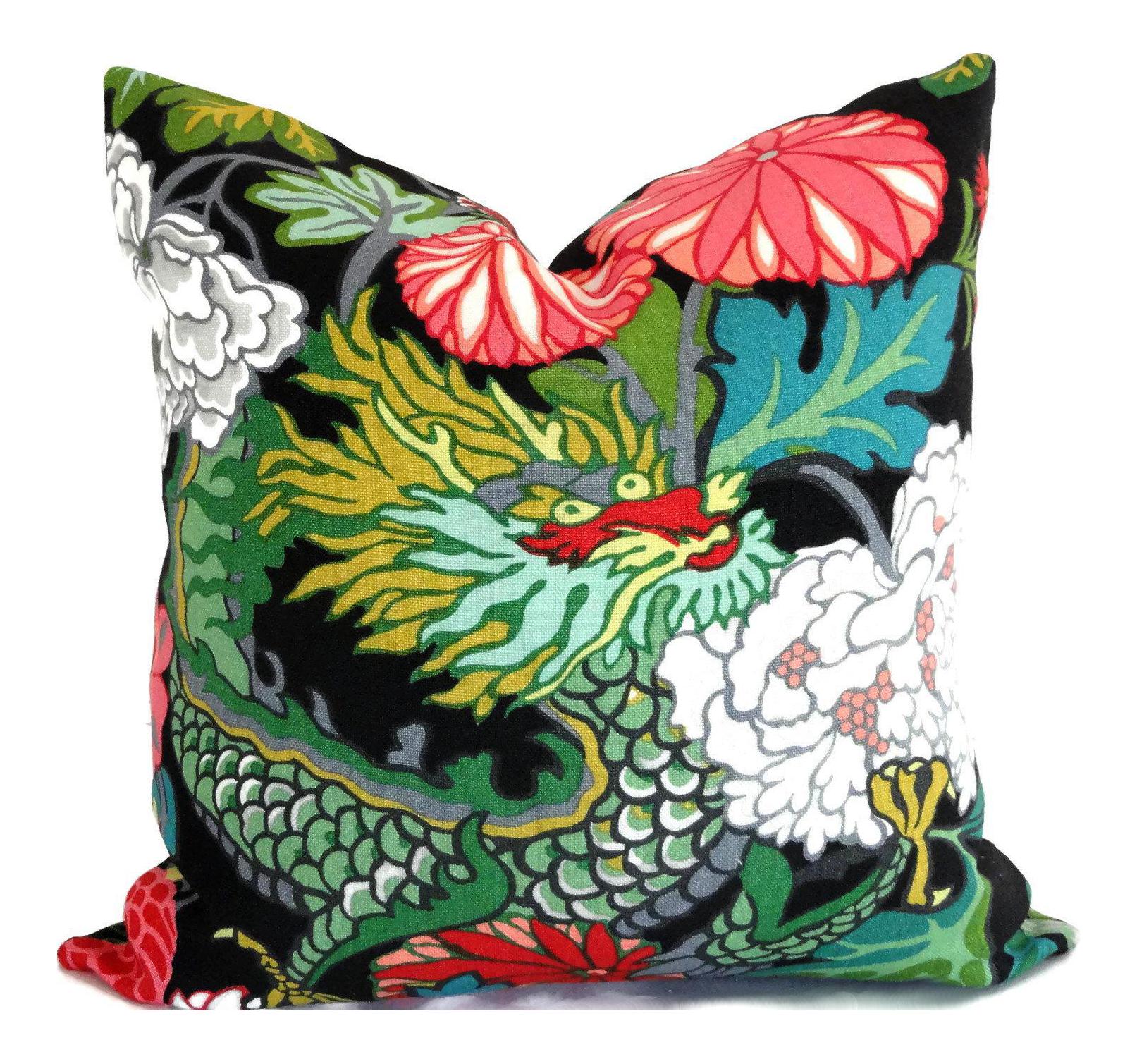 Throw Pillow Case 20 X 20 : Ebony Schumacher Chiang Mai Dragon Decorative Pillow Covers, 20x20 Chairish