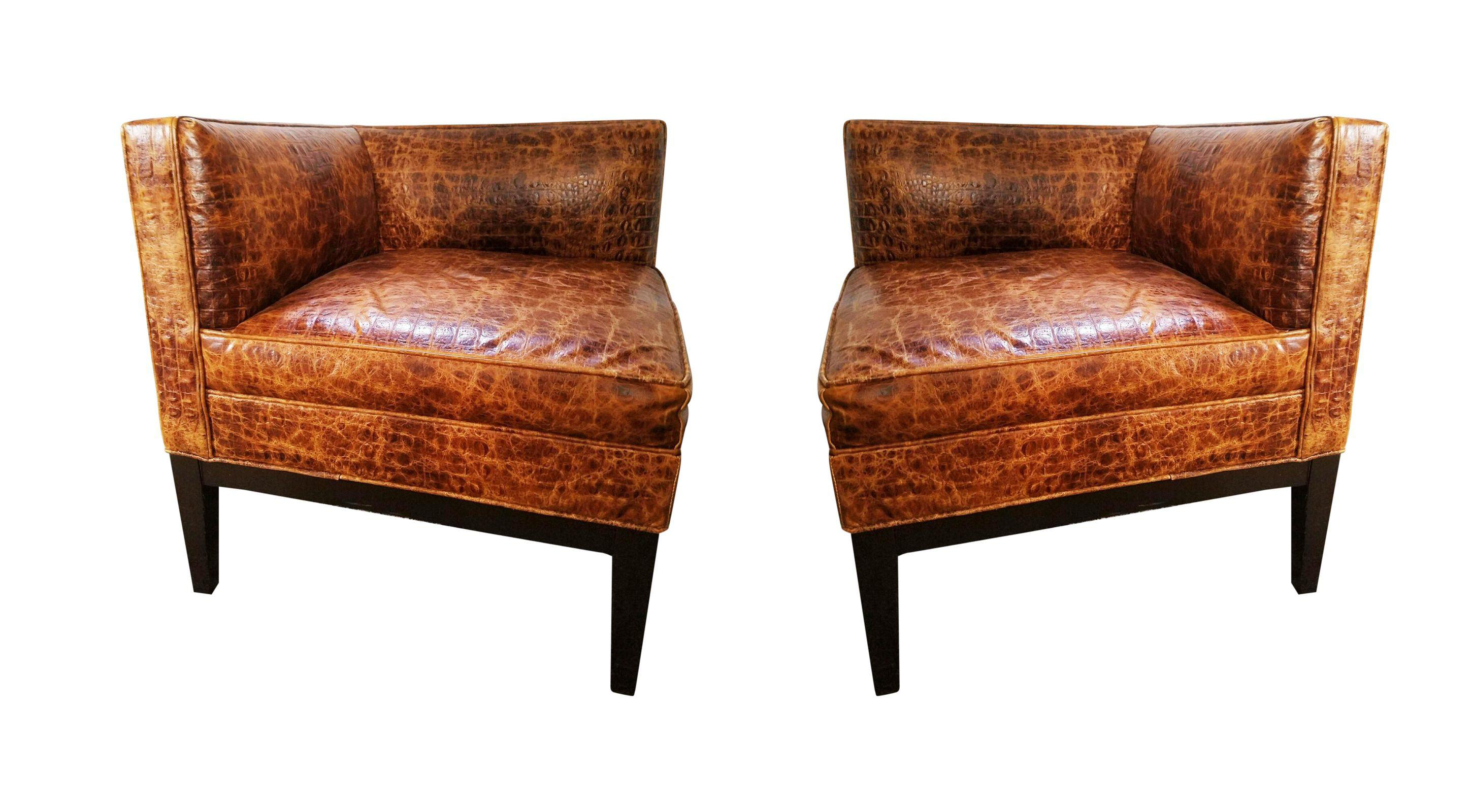 Arhaus Croc Embossed Leather Corner Chairs Pair