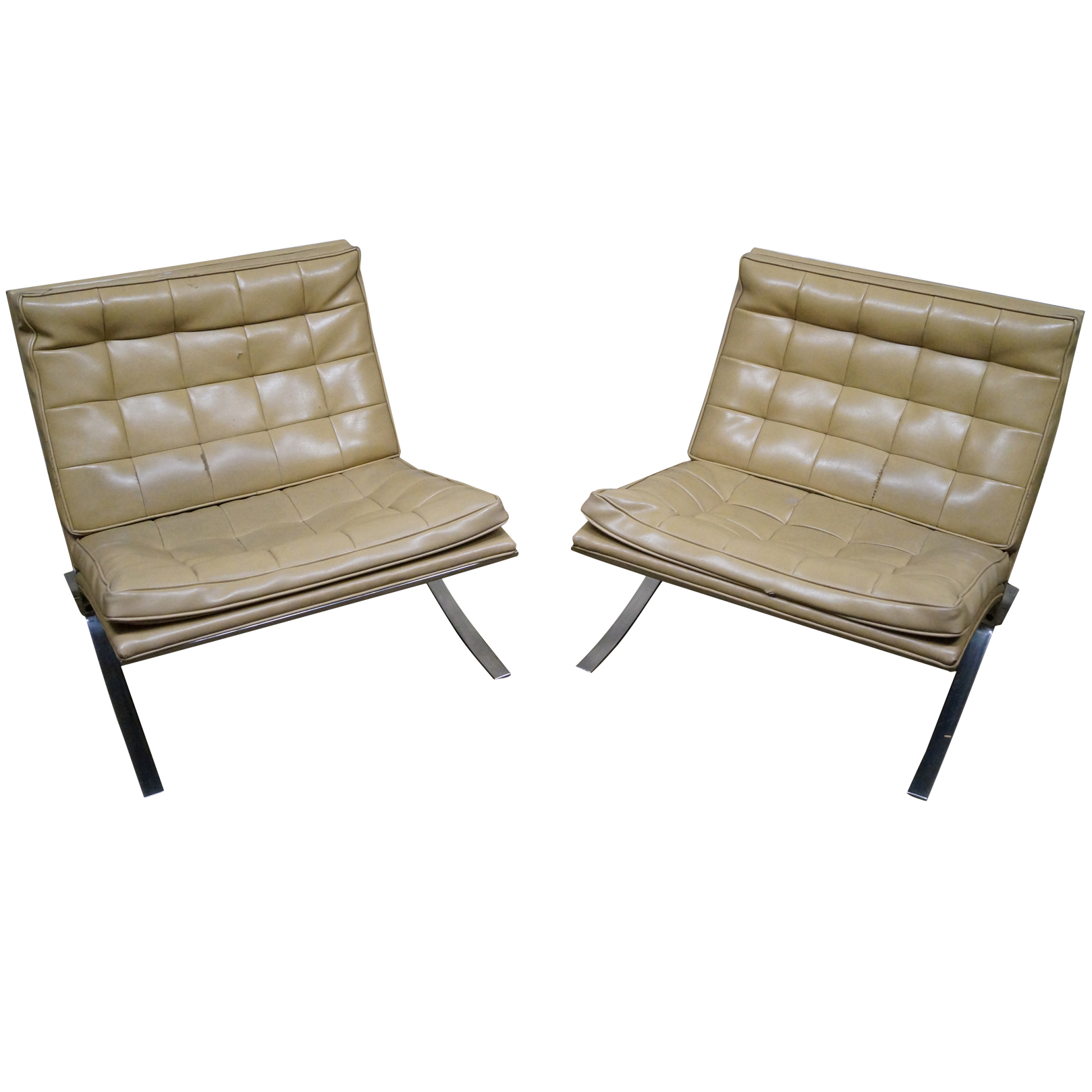 Barcelona style chairs - Image Of Vintage Chrome Frame Barcelona Style Chairs Pair