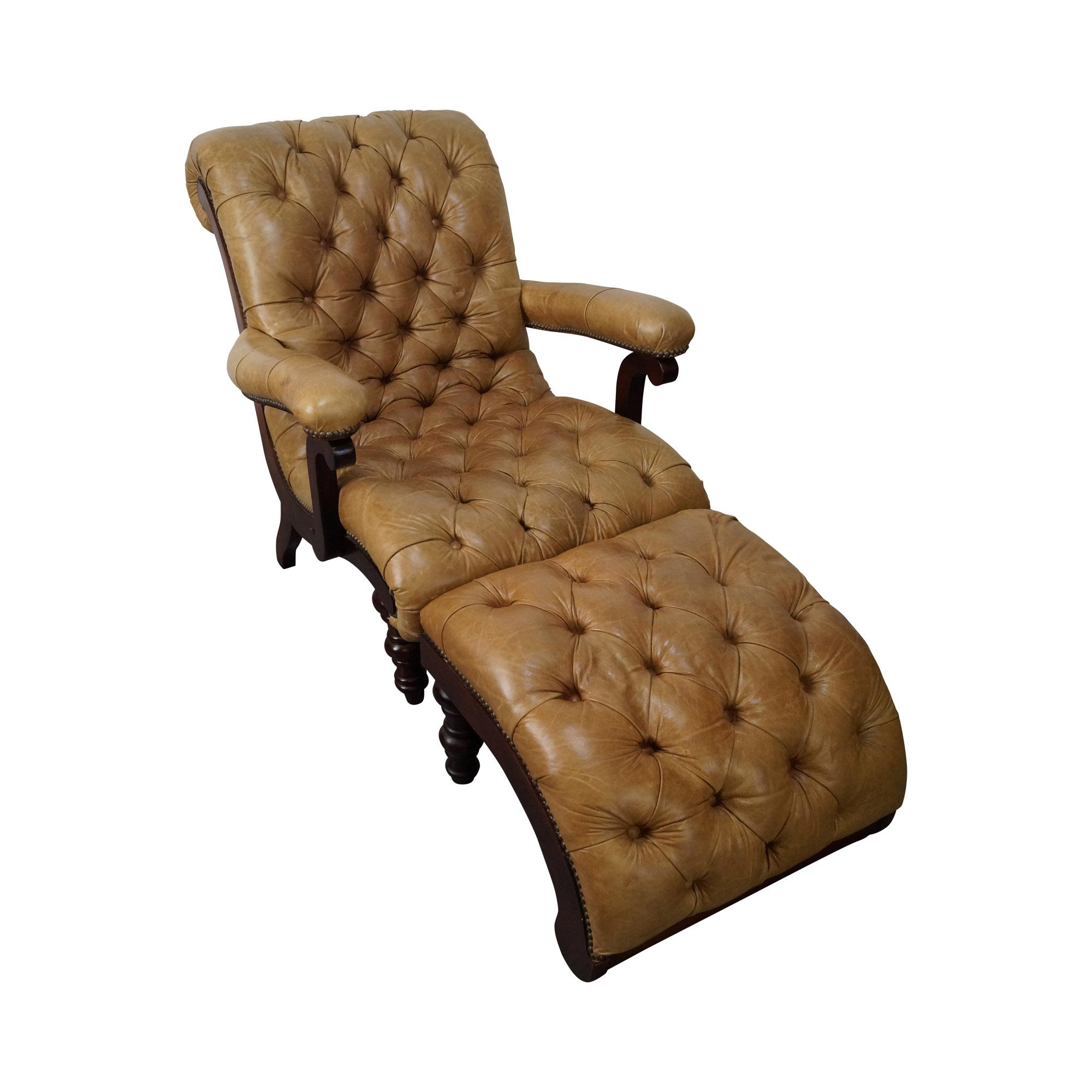 Tufted Leather Chaise Lounge Chair With Ottoman | Chairish