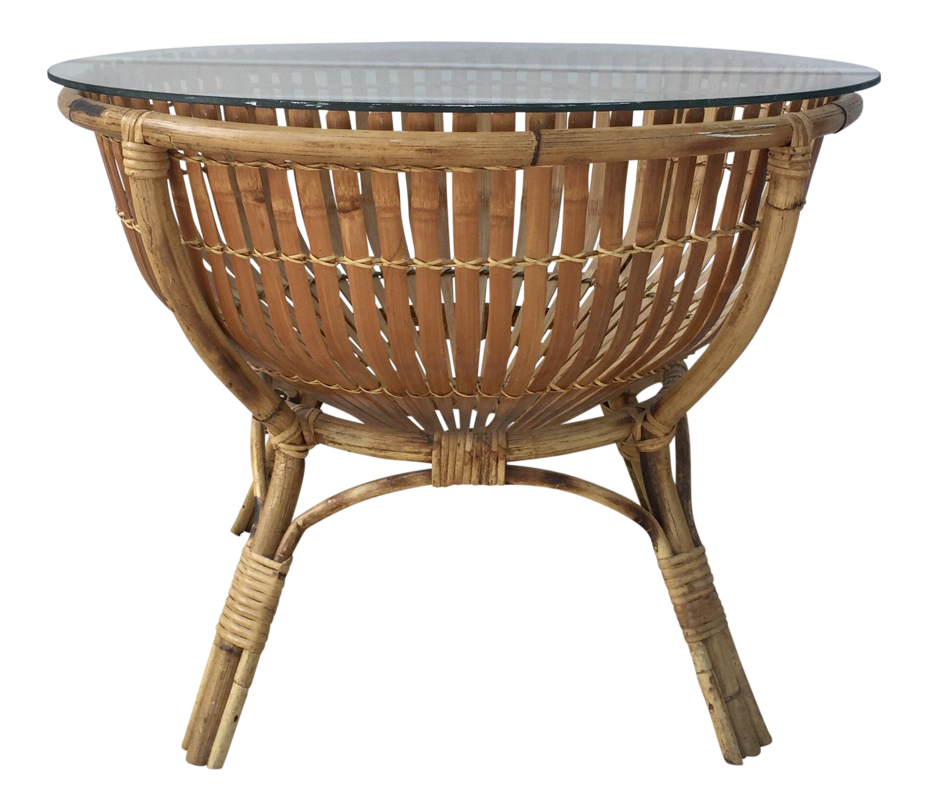 Vintage rattan fish basket coffee side table chairish geotapseo Gallery