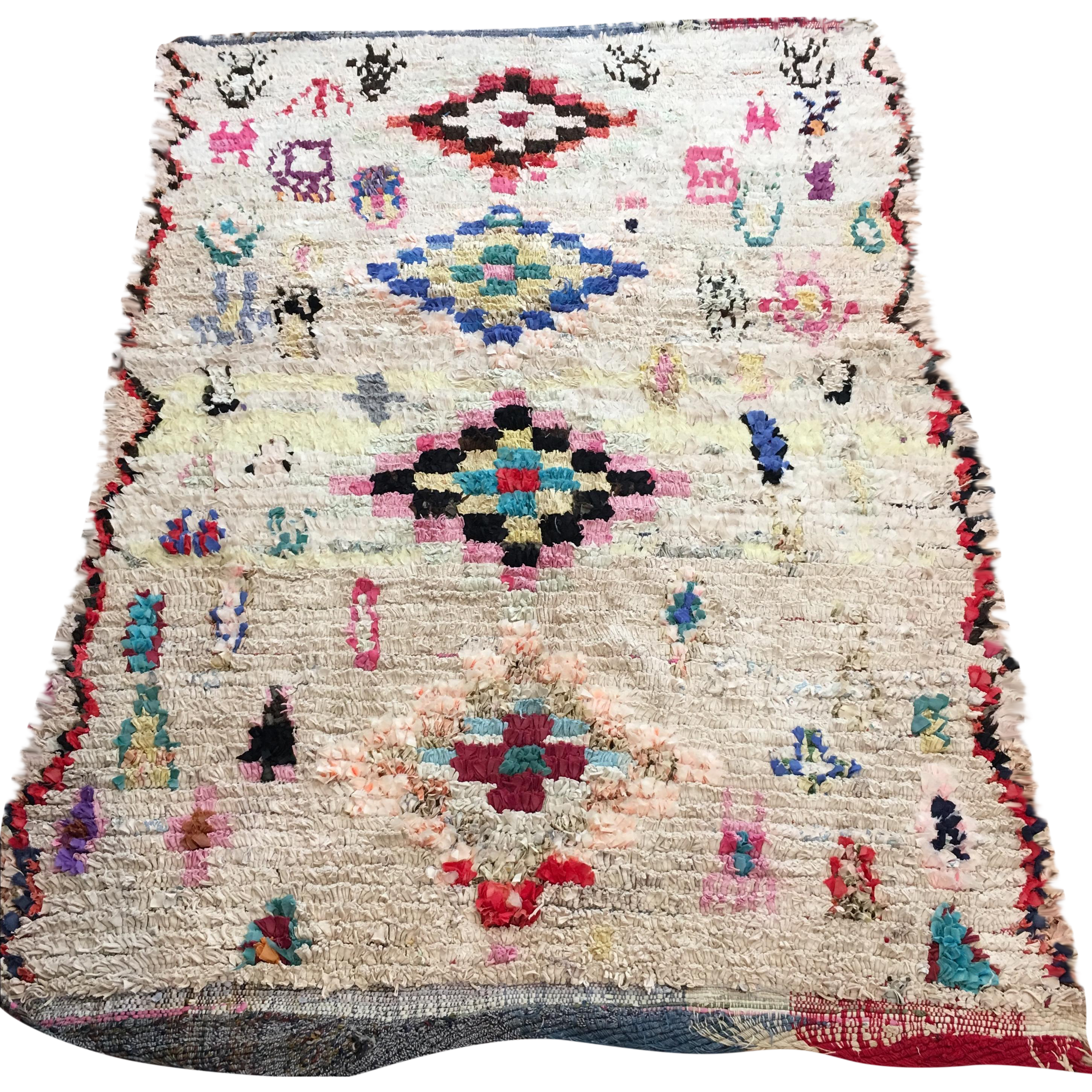 Image Of Vintage Moroccan Boucherouite Rug   4u20326u2033 × 6u20326u2033